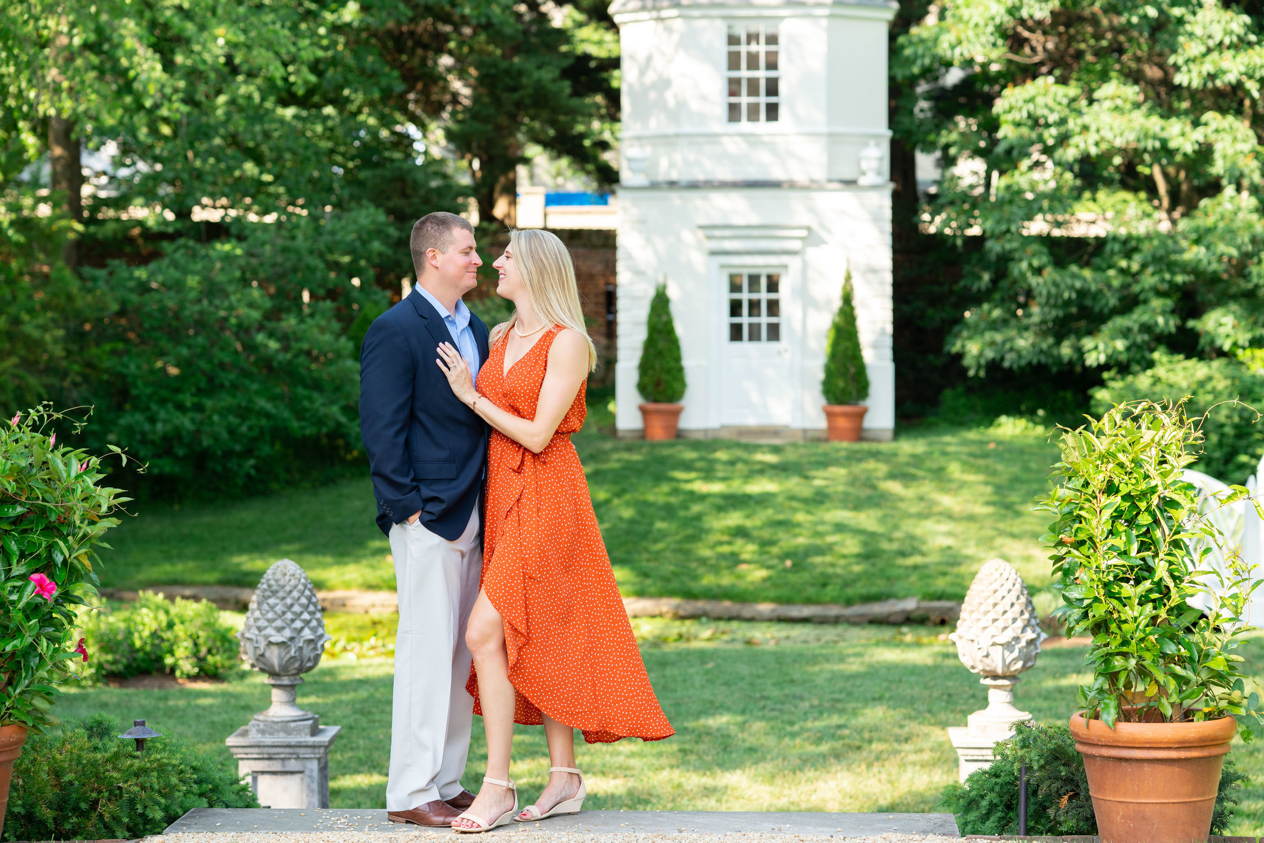 Couple standing in the gardens at William Paca House in Annapolis