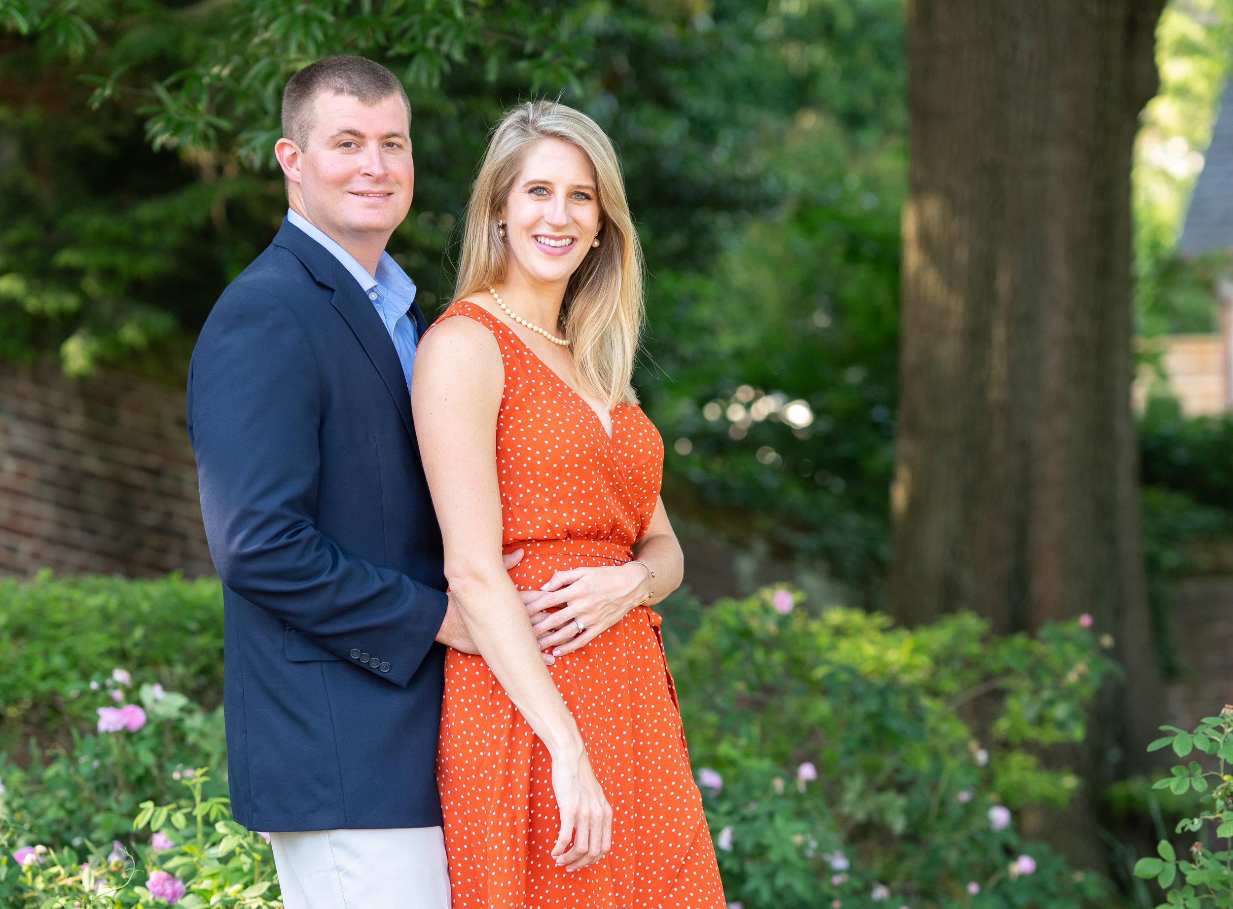 Orange dot dress and blue suit engagement outfit ideas