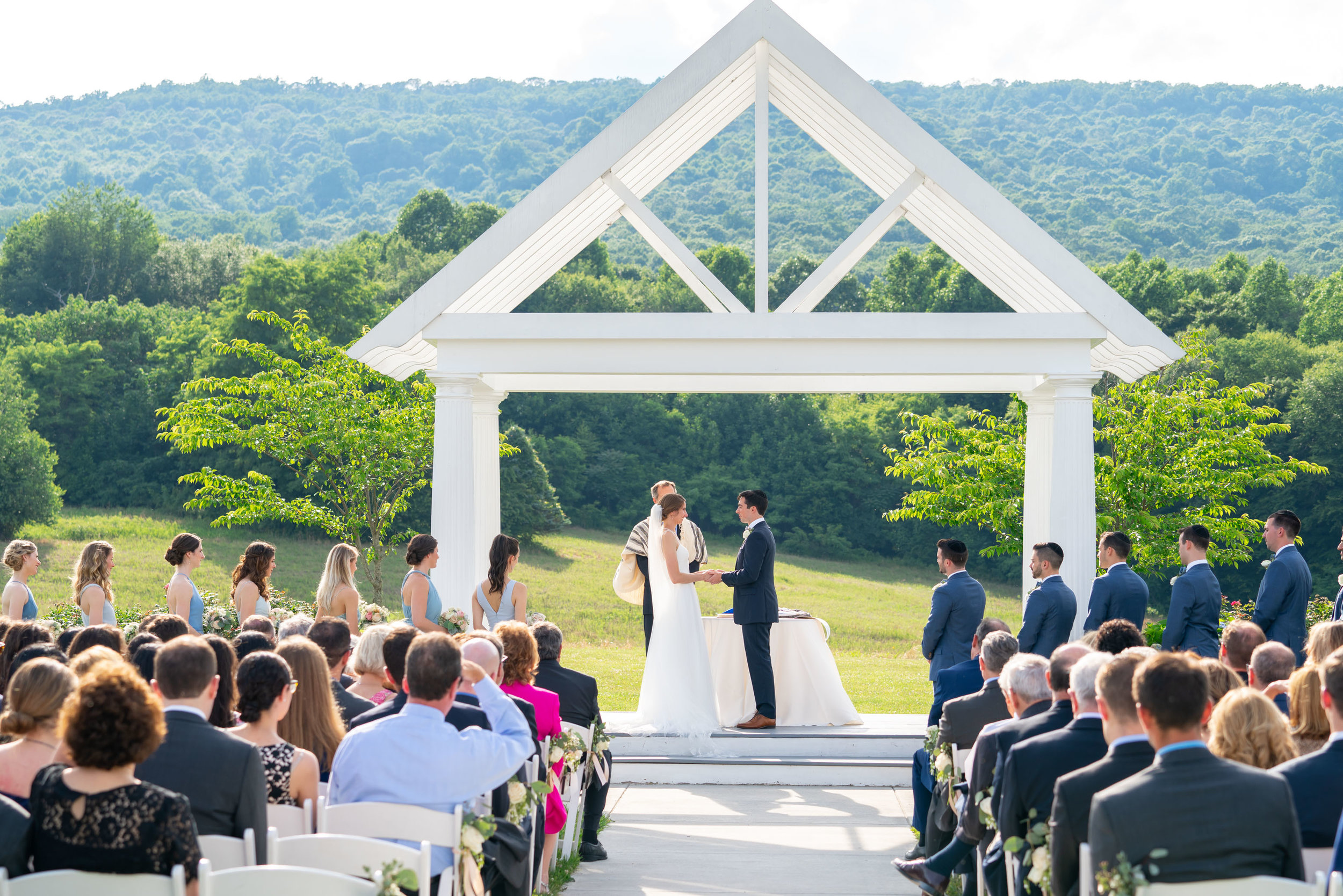 Ceremony with sugarloaf mountains at Springfield Manor Winery and Distillery