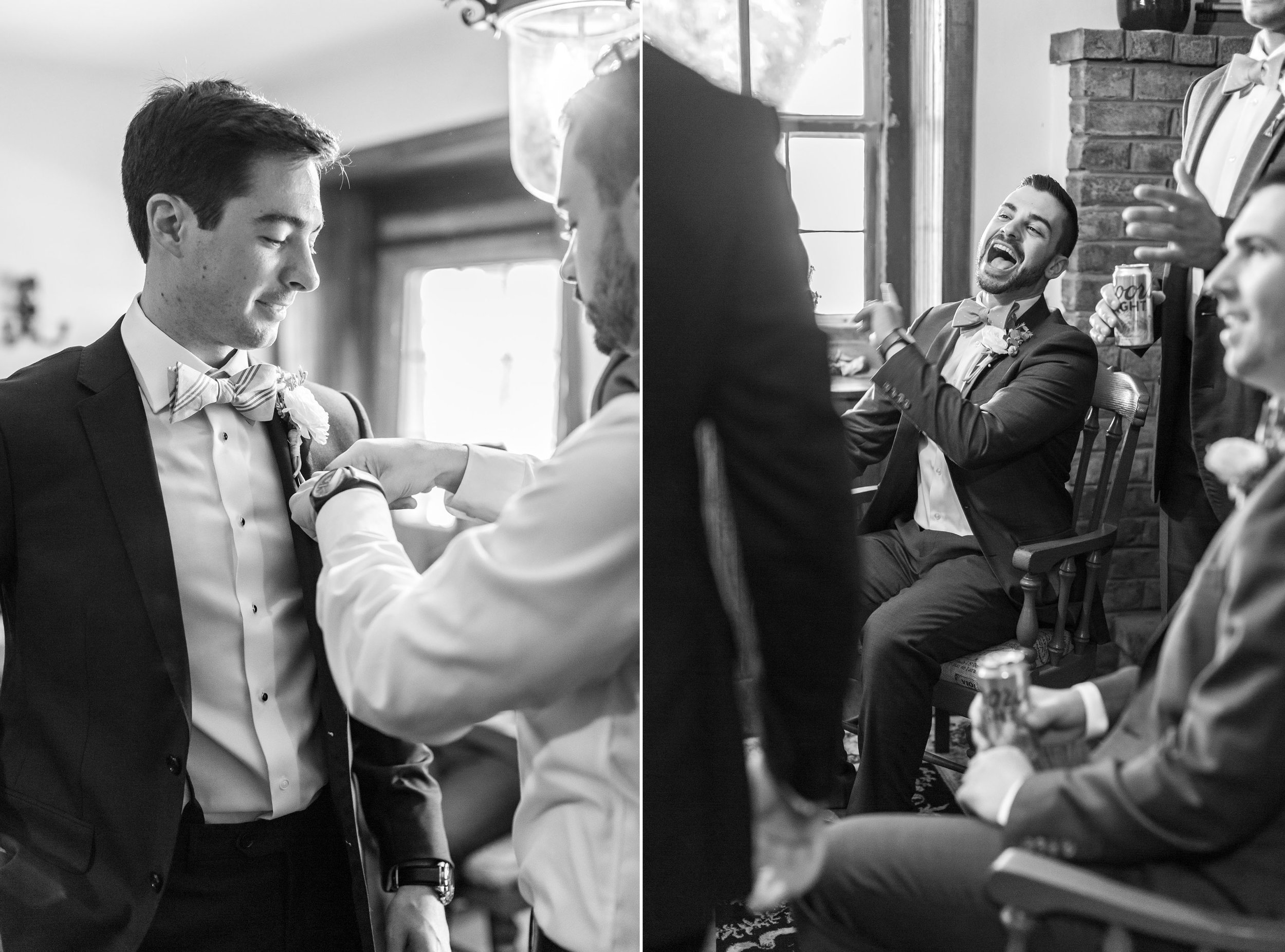 Groom getting ready and laughing in grooms lounge at Springfield Manor Winery and Distillery