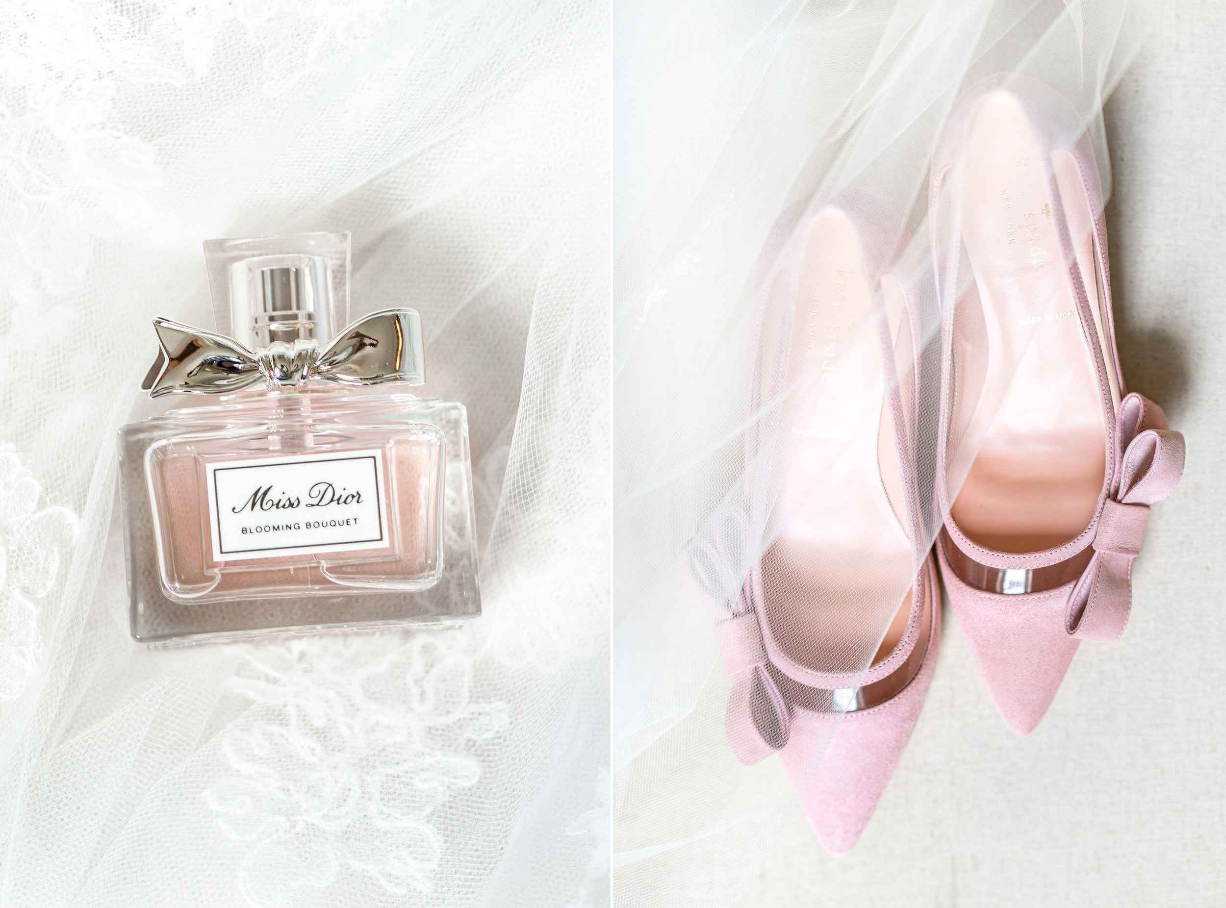 Miss Dior perfume and bridal veil from Lovely Bride and pink kate spade wedding shoes