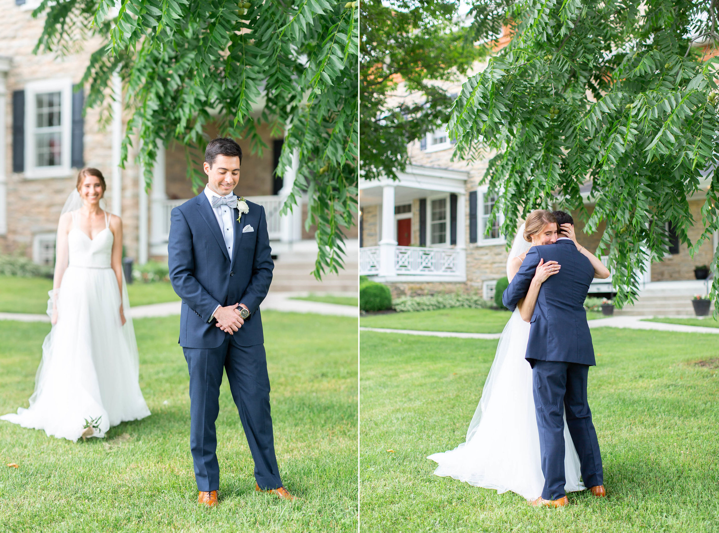 Bride and groom first look front lawn in Maryland vineyard wedding venue
