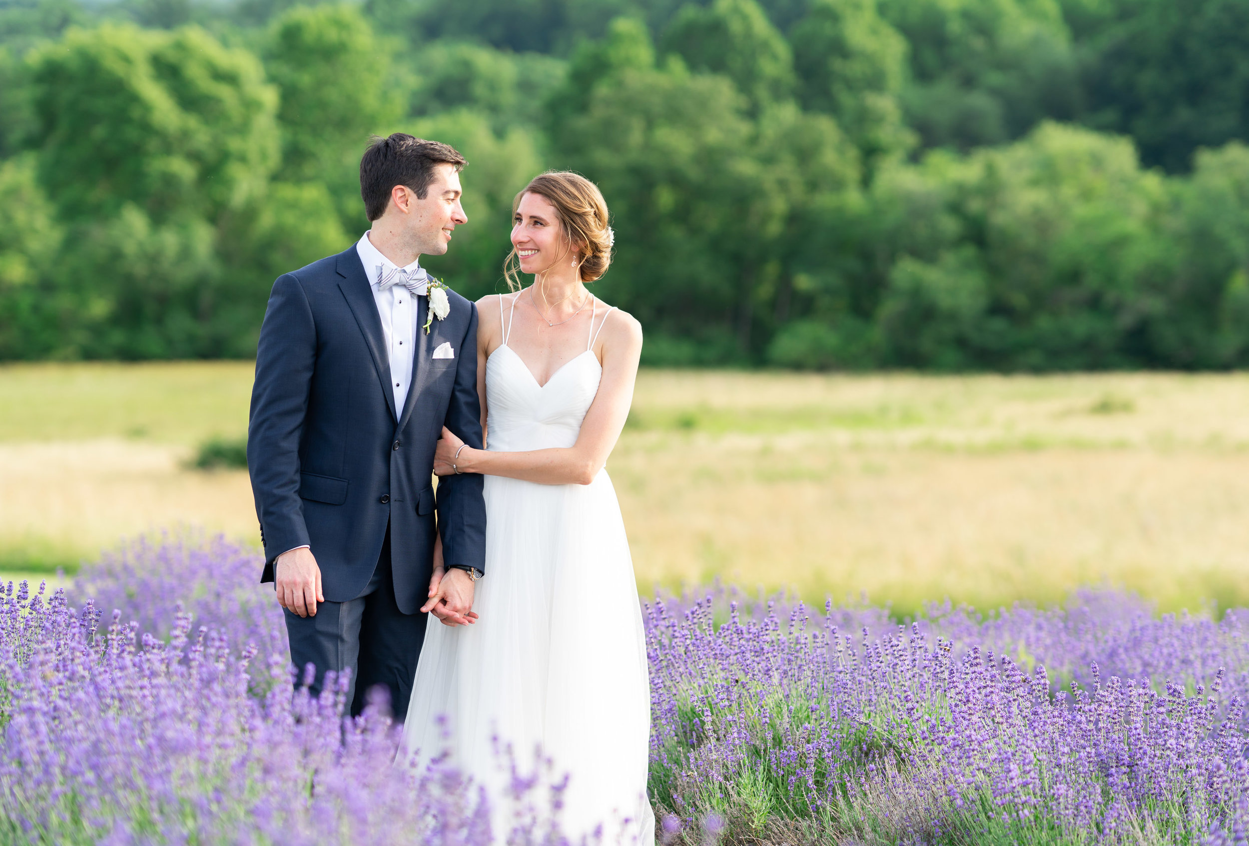 Bride and groom portraits during lavender festival at Springfield manor winery and distillery