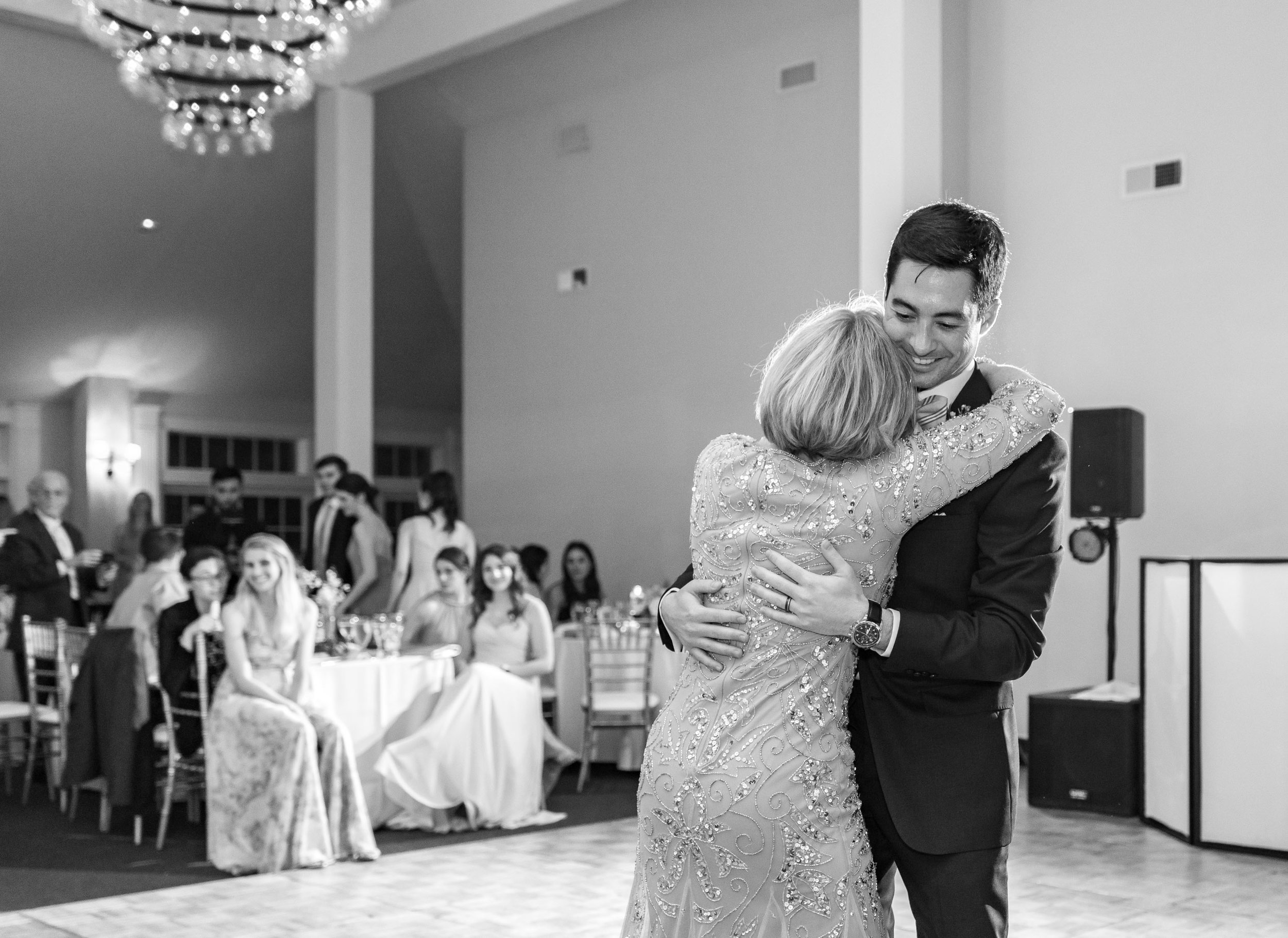 Mother Son dance with dramatic flash during wedding reception