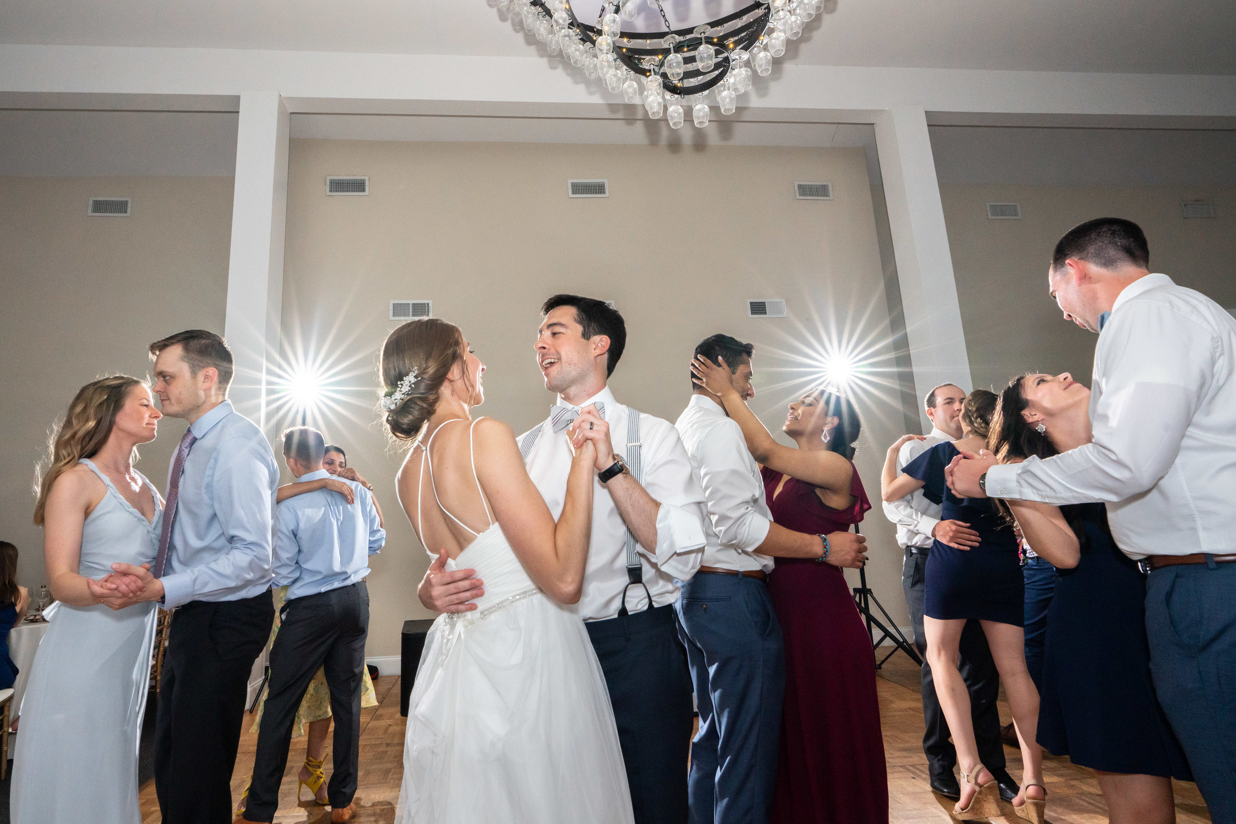 Bride and groom with dramatic flash lighting their last dance Sony HVL-F60RM