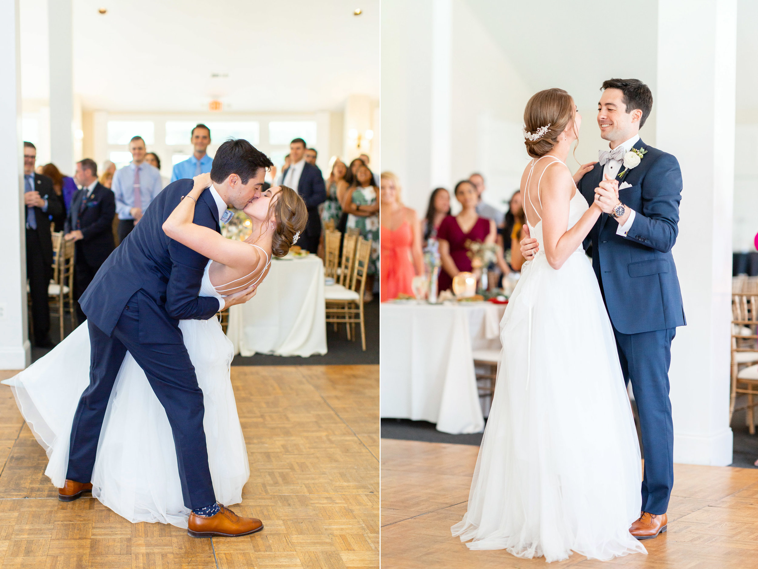 Beautiful bride and groom first dance dip and kiss during reception at Springfield Manor Winery and Distillery