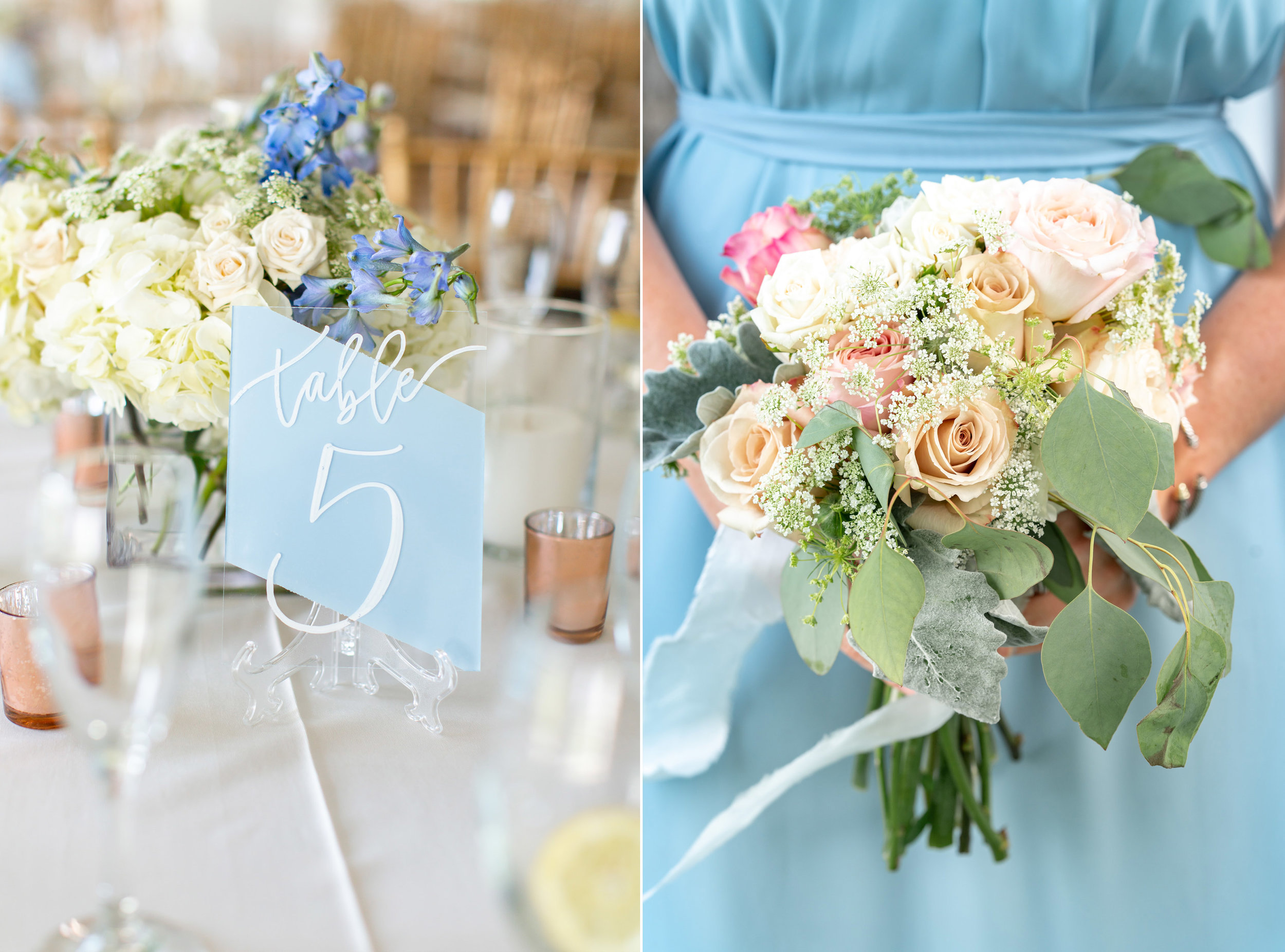 Table details and light blue jenny yoo, joanna august bridesmaid dress