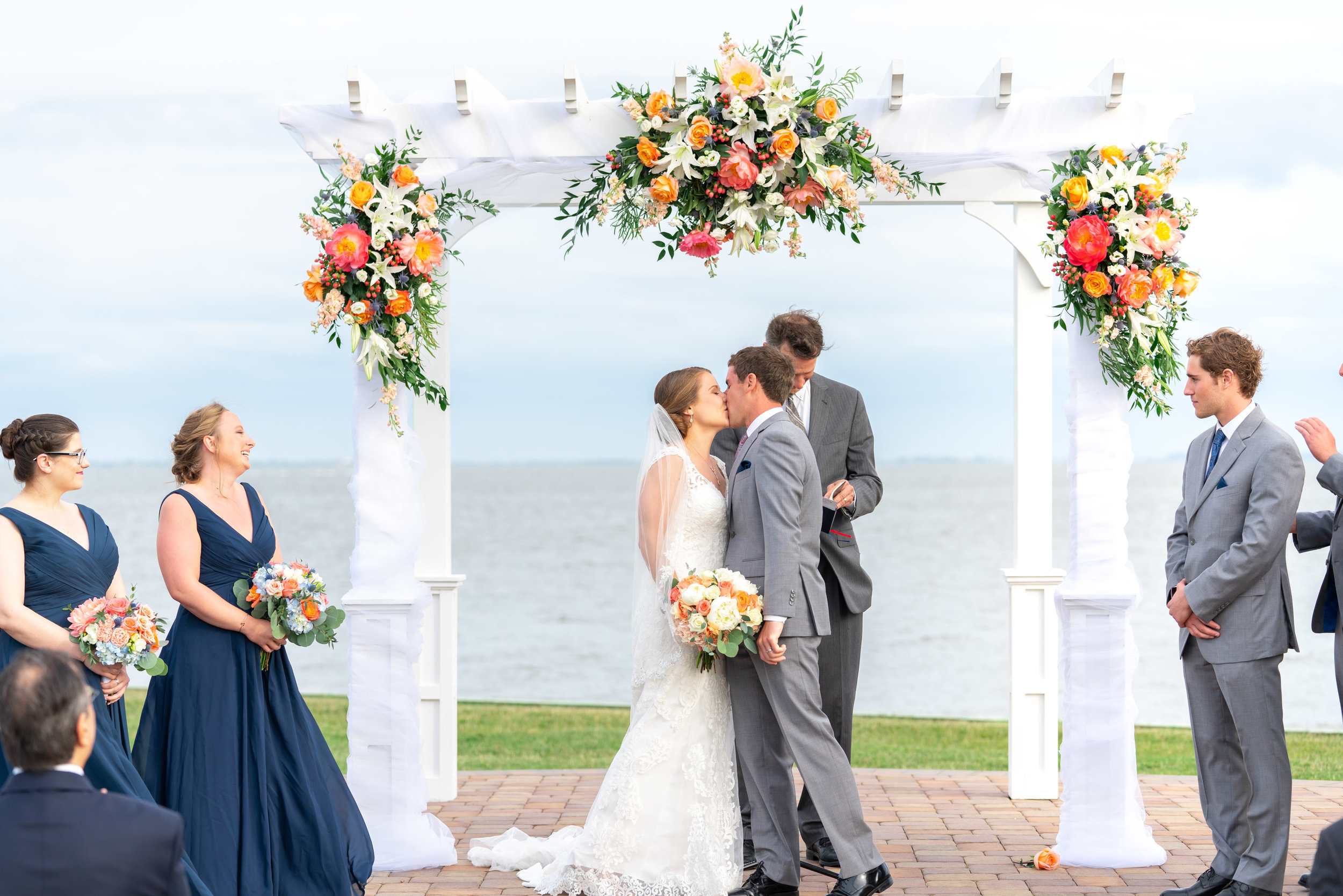 Wedding ceremony on the ocean at Rehoboth Beach Country Club