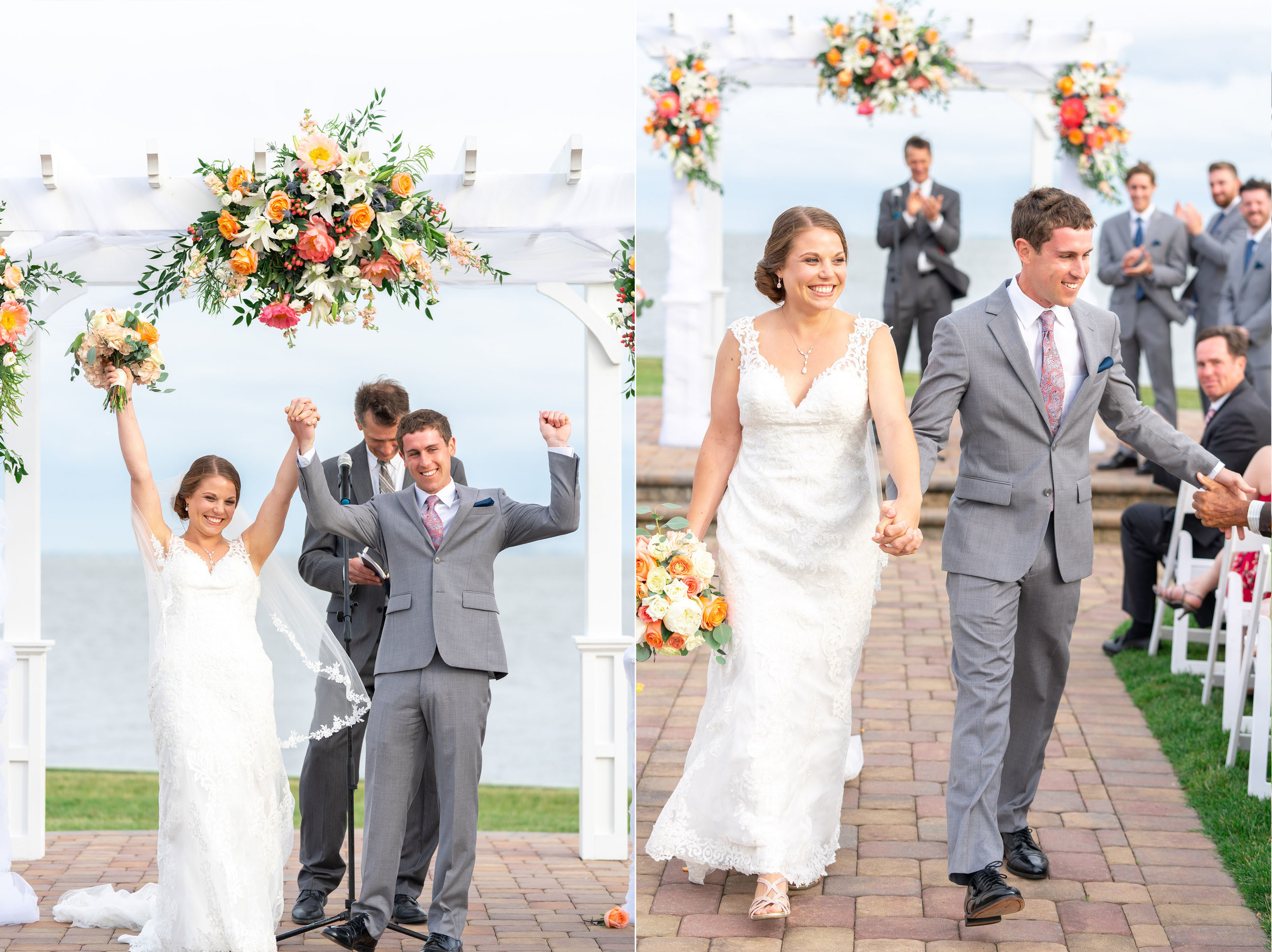 Summer wedding bride and groom walking down the aisle at Rehoboth Beach Country Club