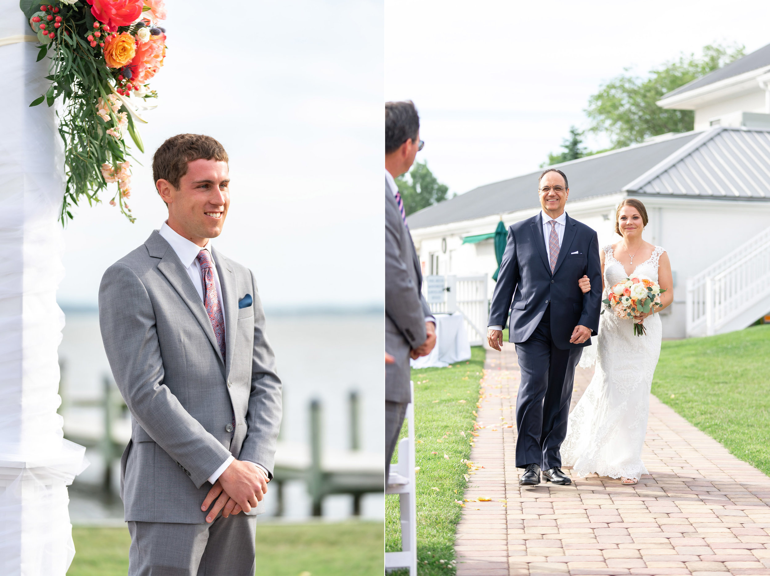 Groom watching bride come down the aisle at Rehoboth Beach Country Club