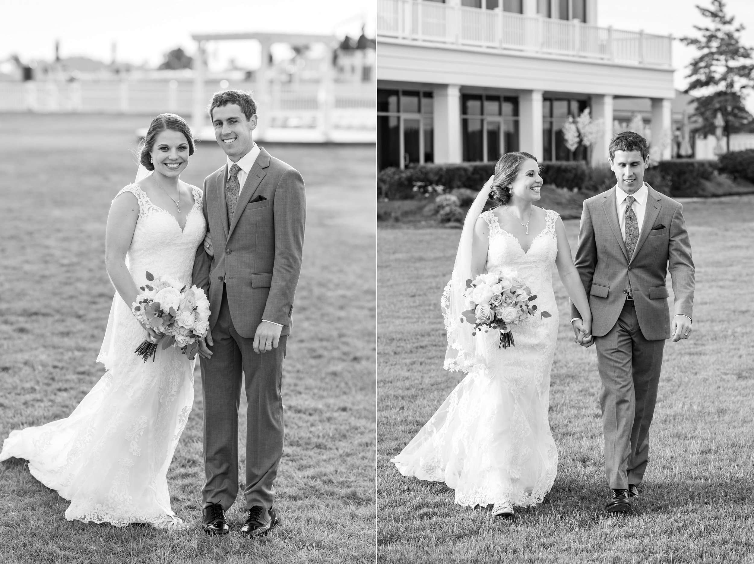 Bride and groom black and white portraits walking across golf course at Rehoboth Beach Country Club