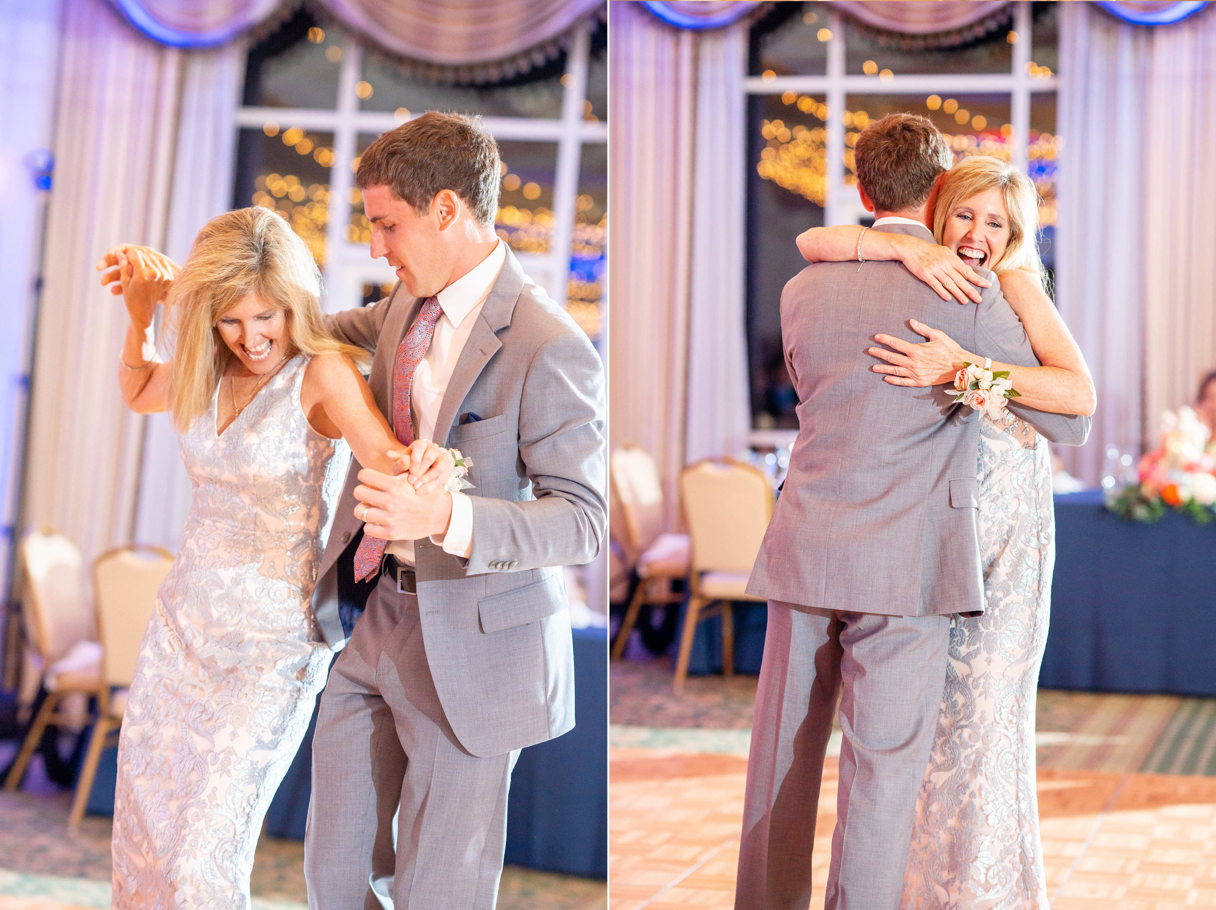 Mother son dance during wedding reception at Rehoboth Beach Country Club