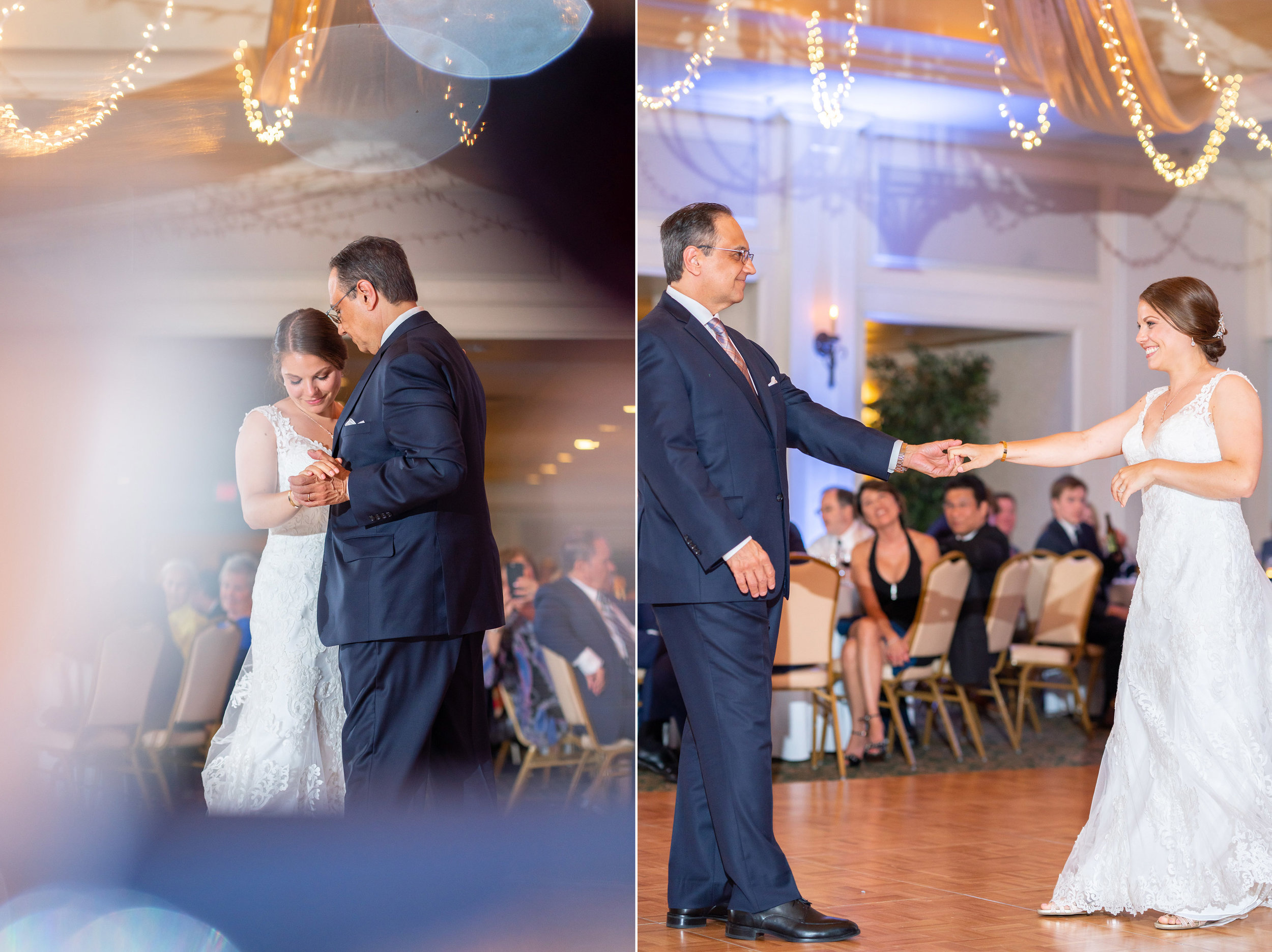 Father daughter dance in beautiful ballroom with lighting at Rehoboth Beach Country Club