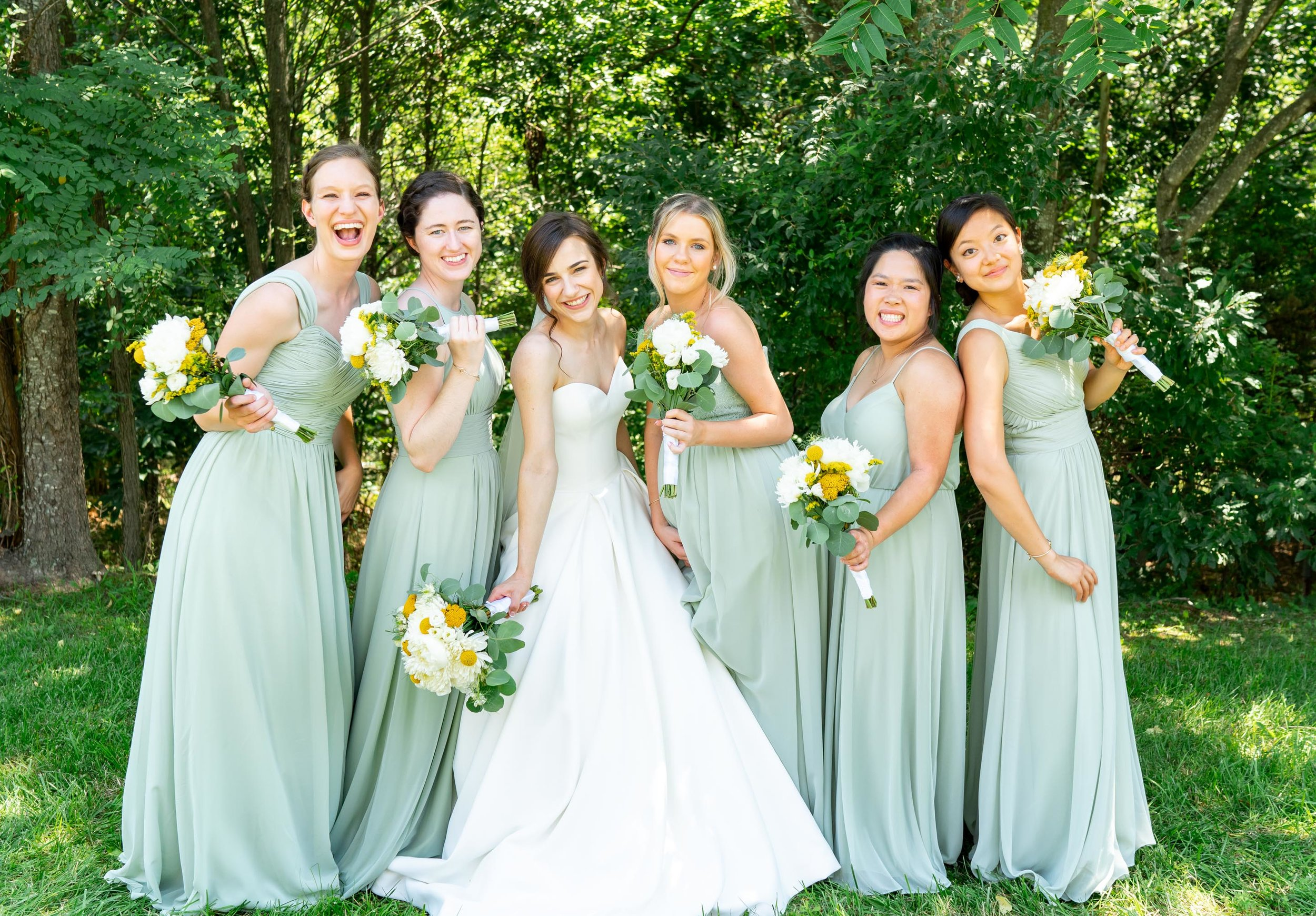 Bridemaids in dusty sage green azazie gowns at Westcott House in Luray