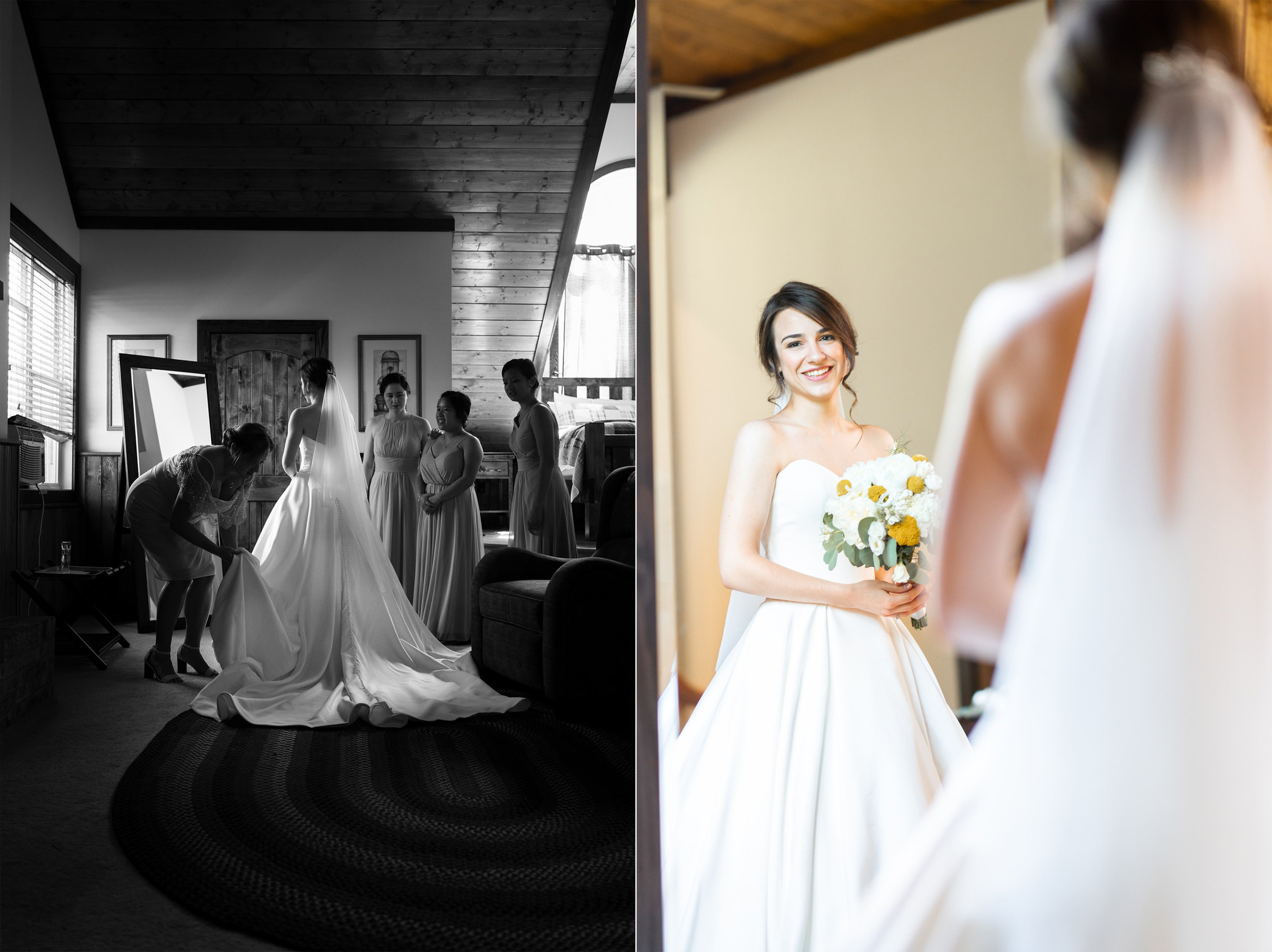 Bride in front of mirror in Westcott House lodge style villa at Luray