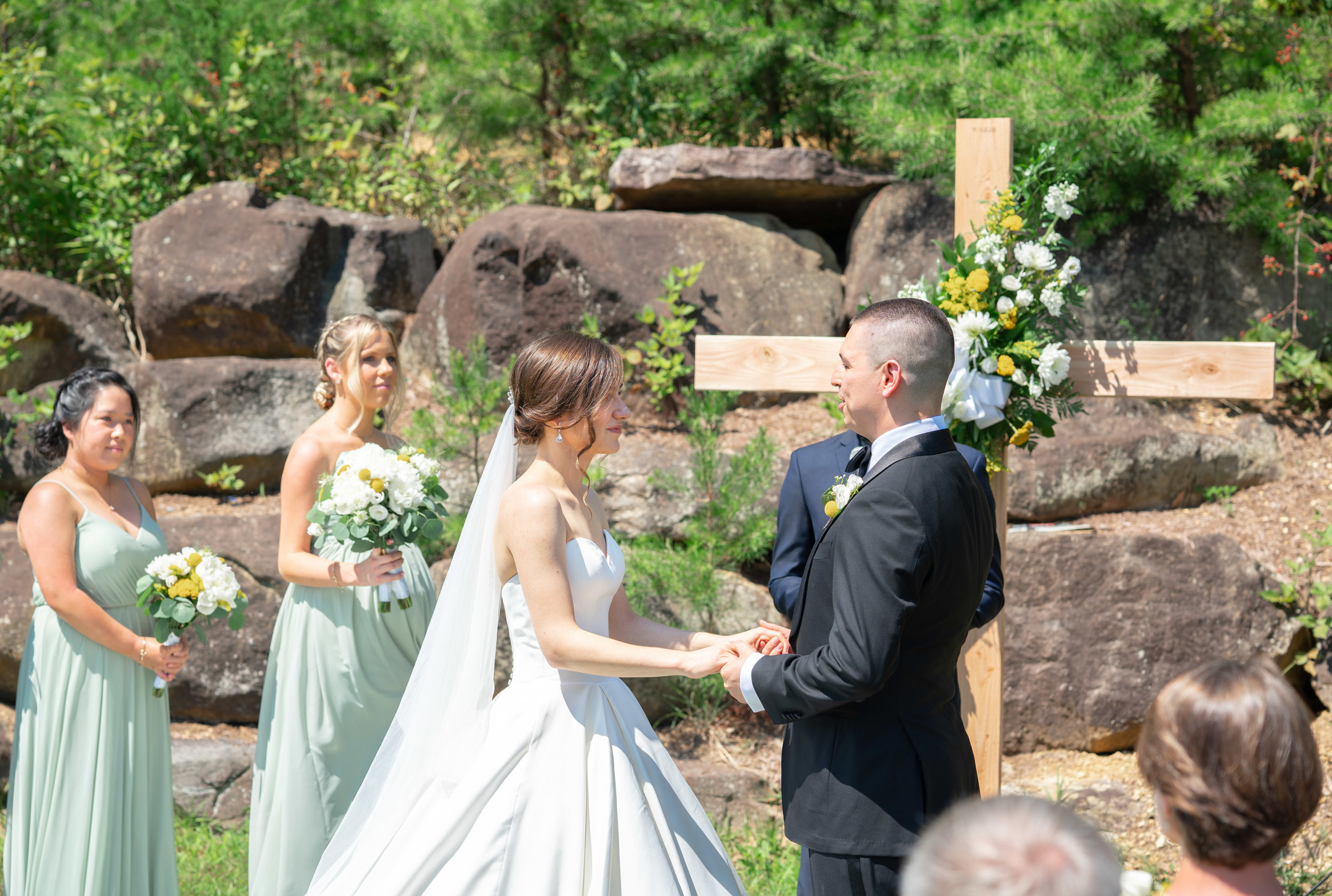 Bride and groom exchanging vows at Westcott House lodge in Luray Virginia