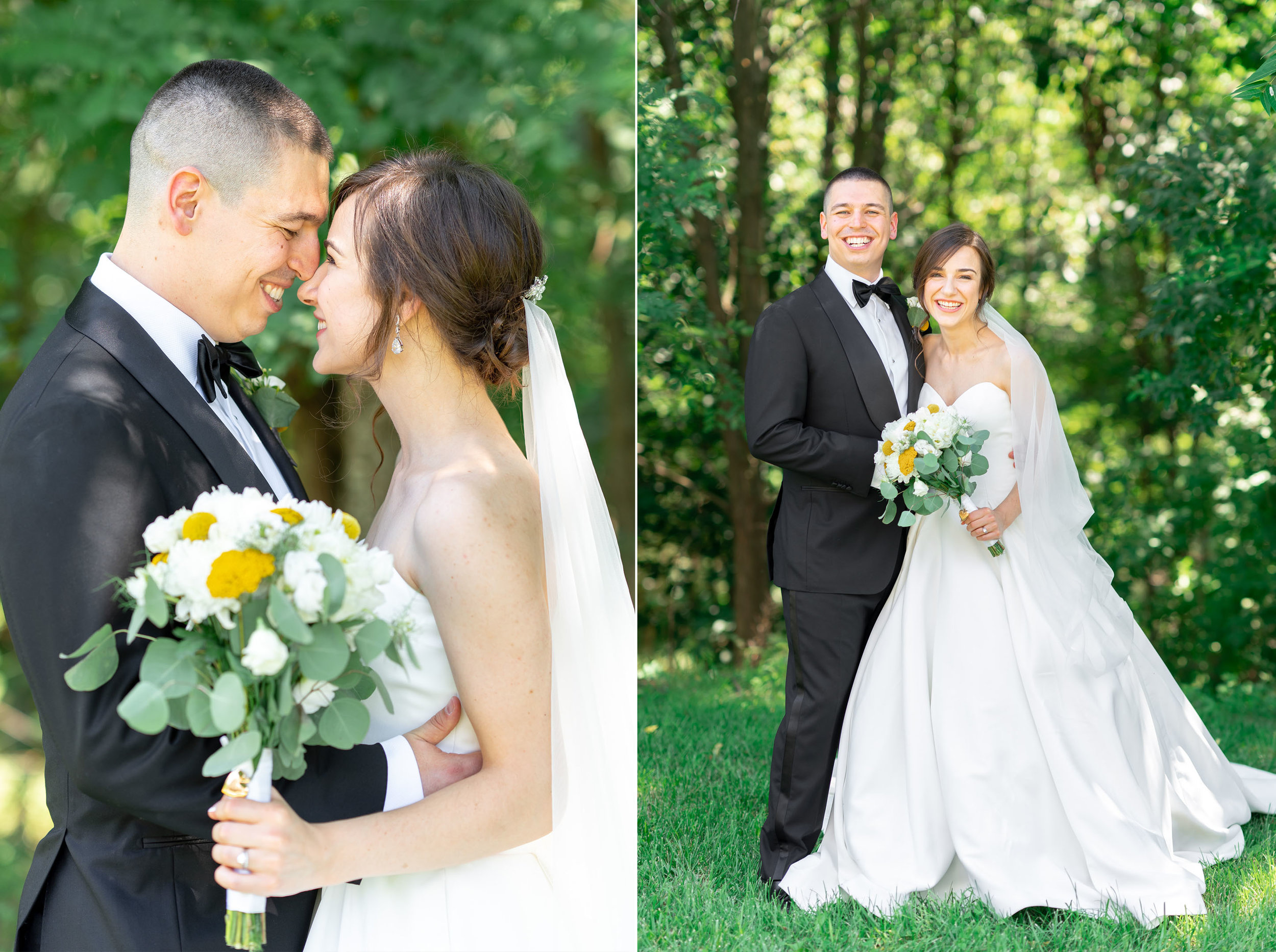 Wedding portraits under the trees in Luray at Westcott House wedding