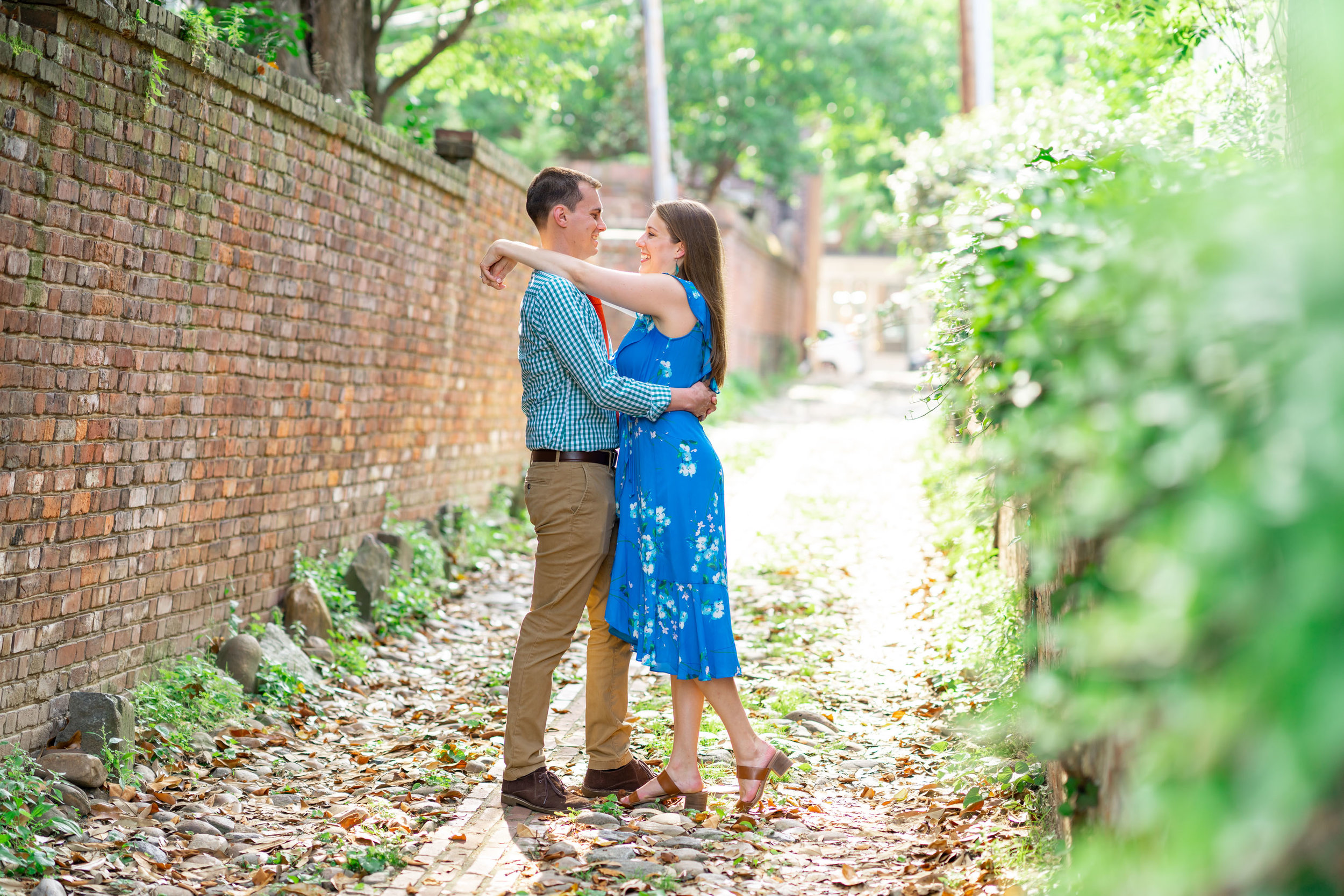 King Alley in old town alexandria engagement photo