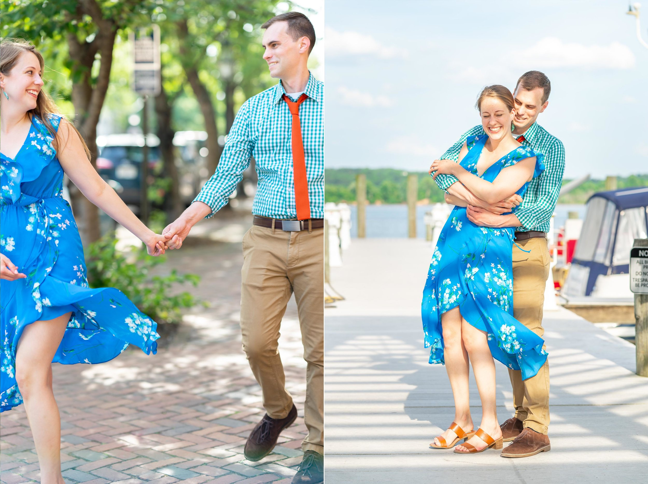 couple twirling on alexandria waterfront dock