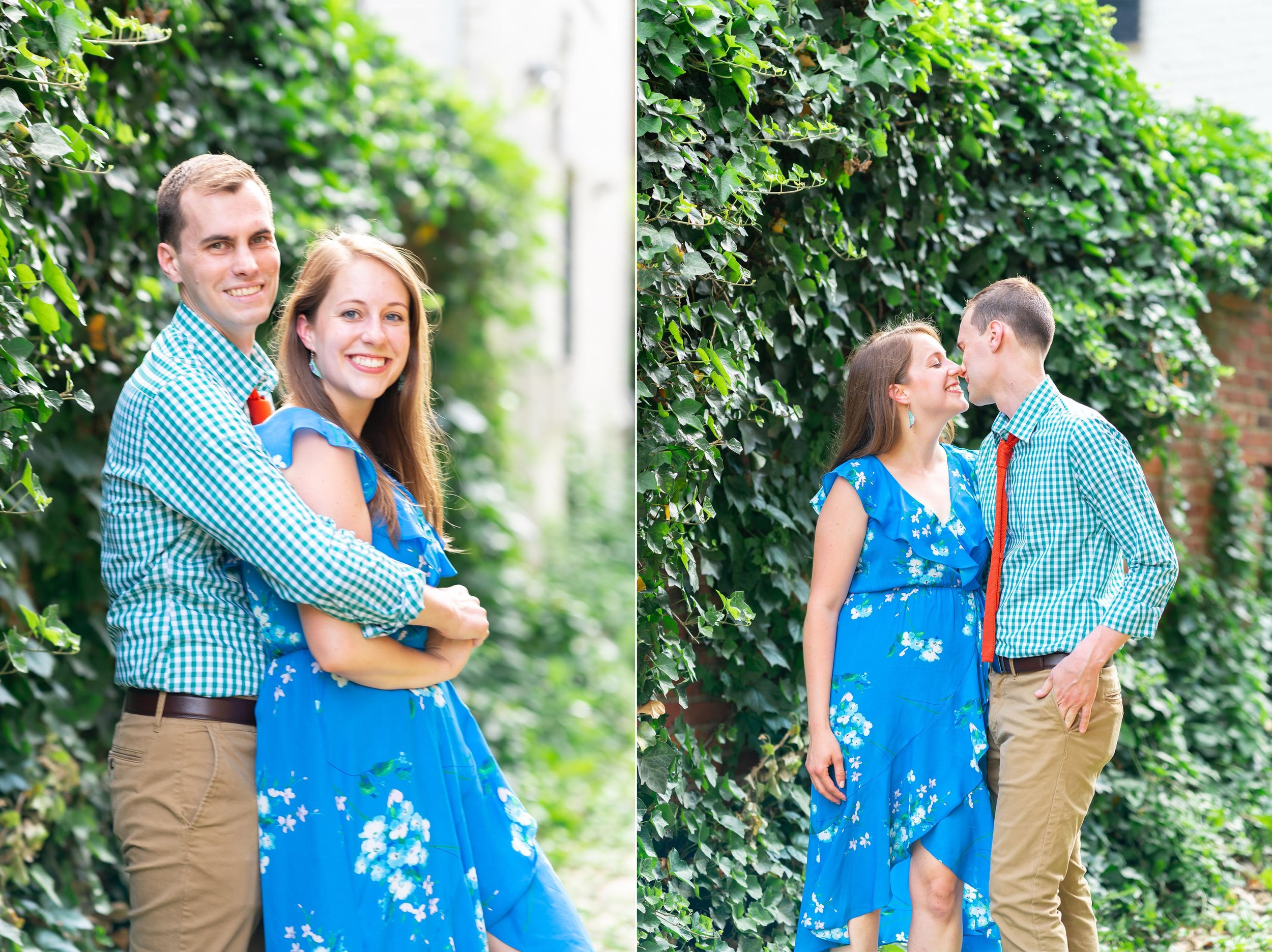 engaged couple in cobblestone alley in old town alexandria