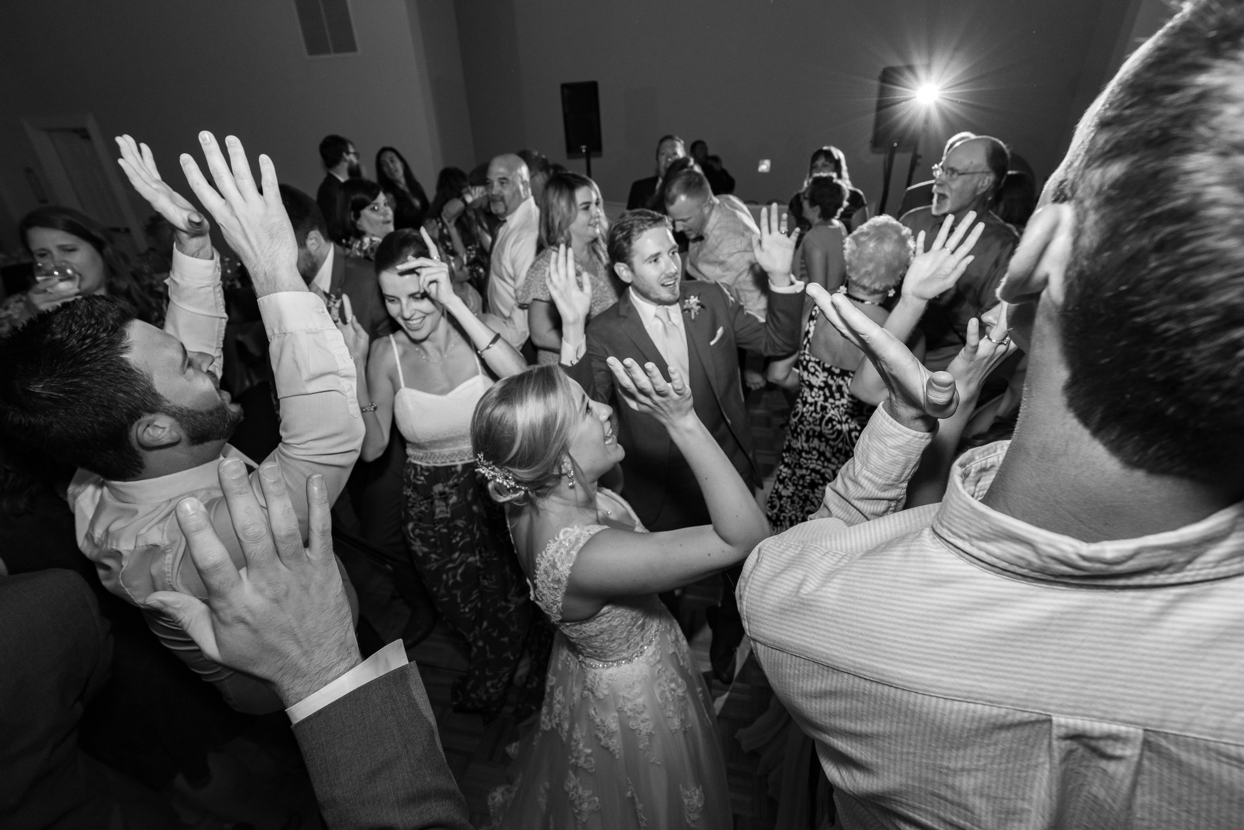 everybody on the dance floor with hands up at frederick venue
