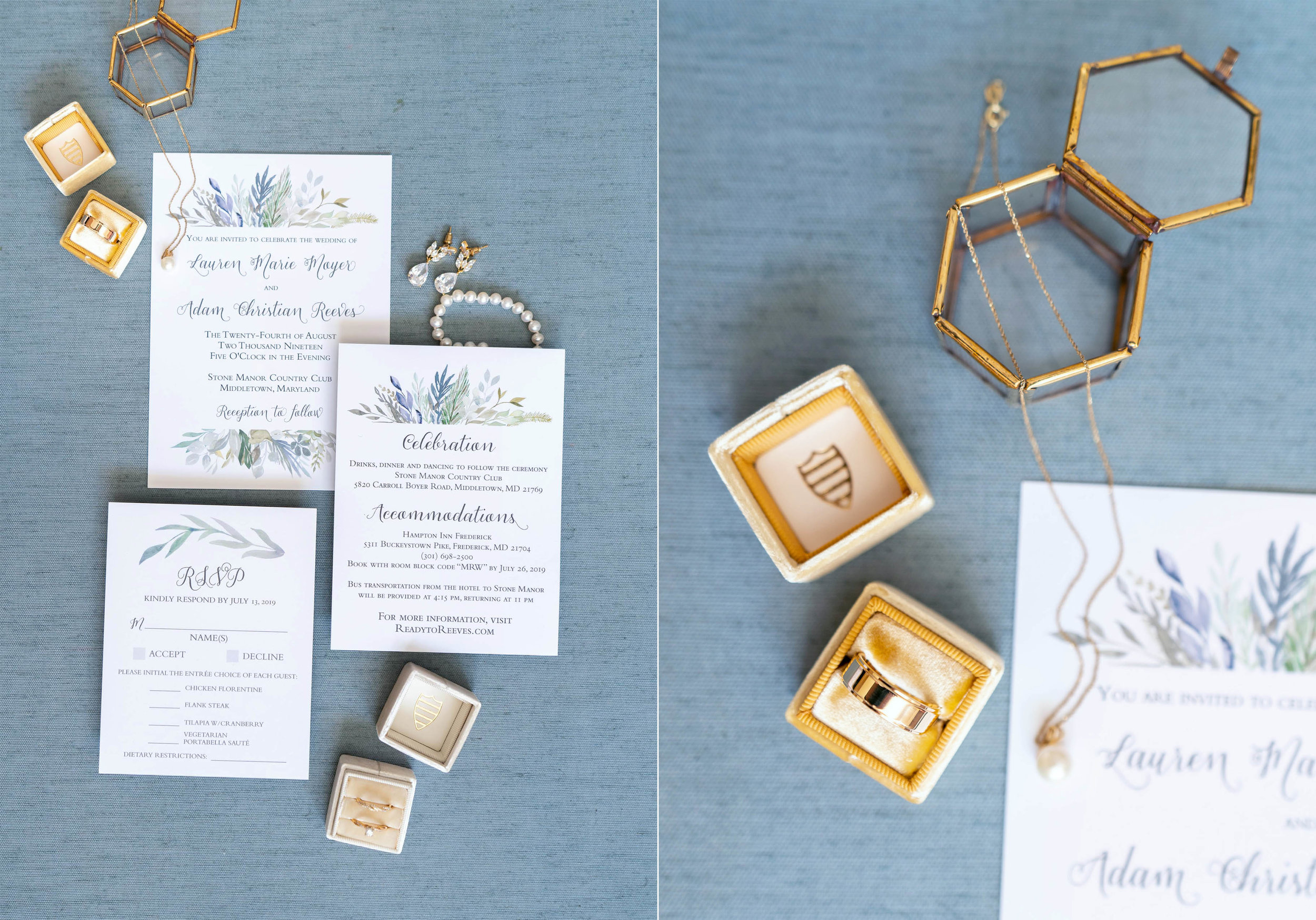 Wedding invitations and blue styling board and Eastleigh yellow Mrs Box