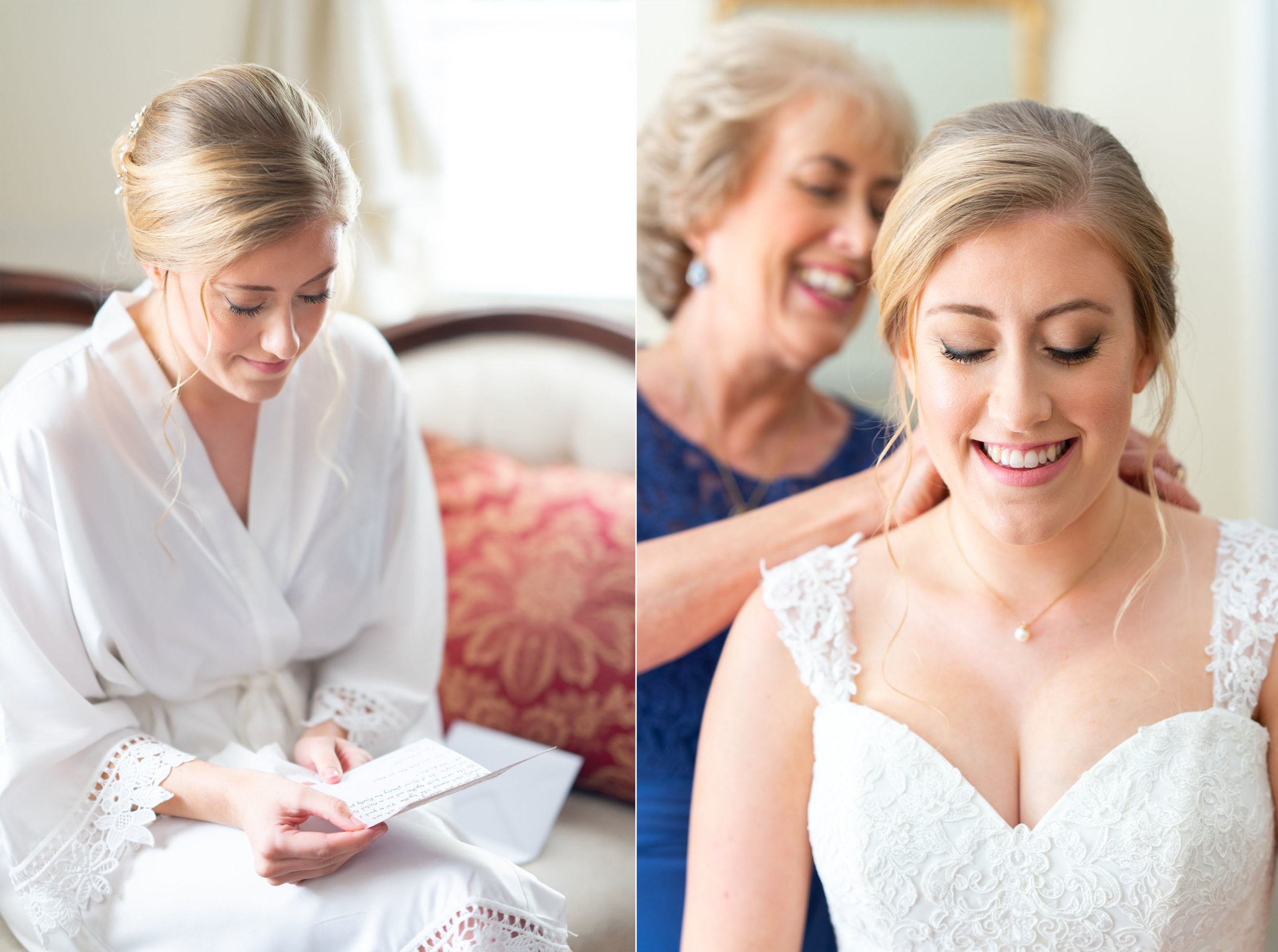 Bride in bridal suite at Stone Manor Country Club getting ready