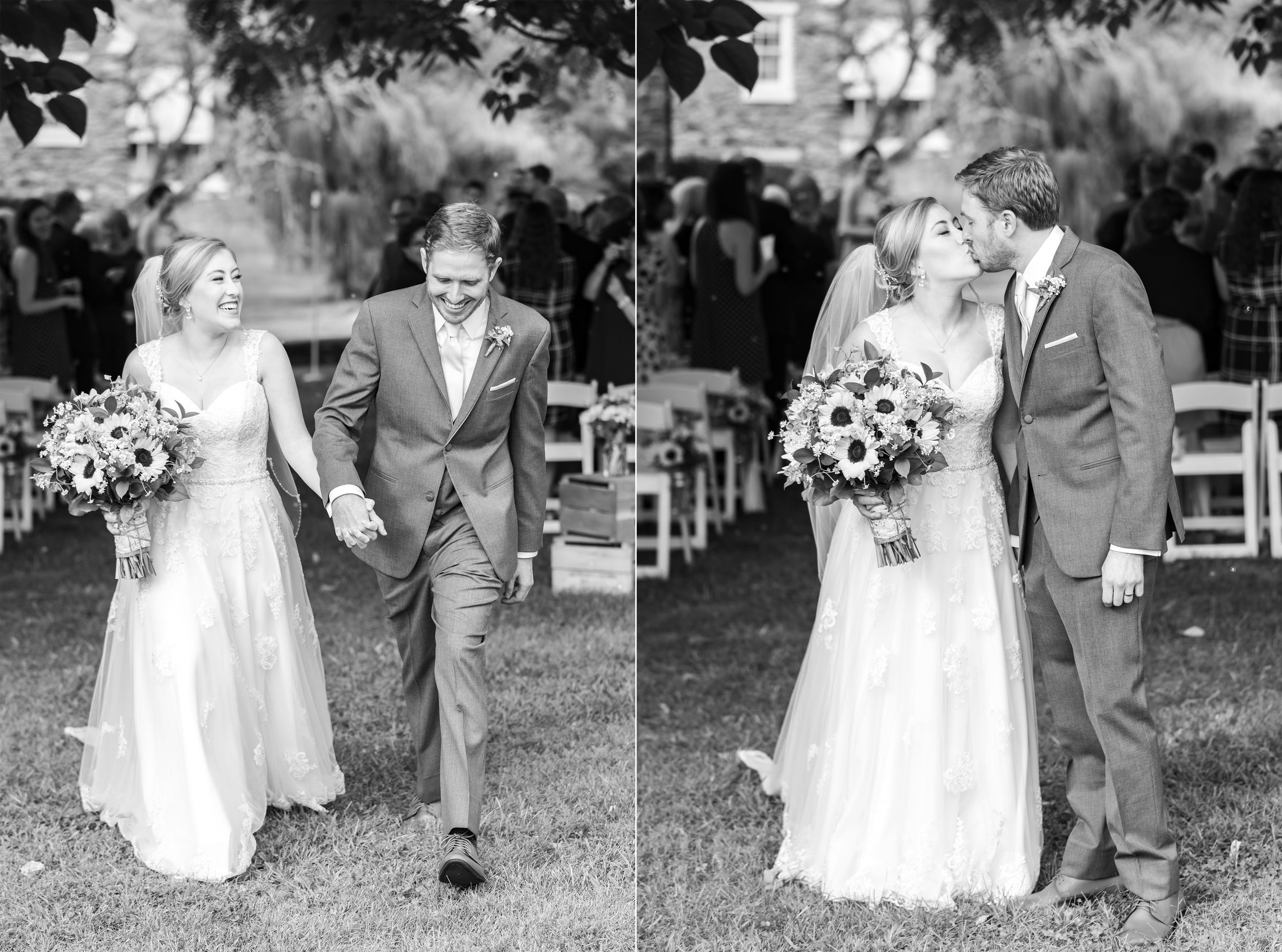 Black and white photos of bride and groom walking down the aisle with bubbles