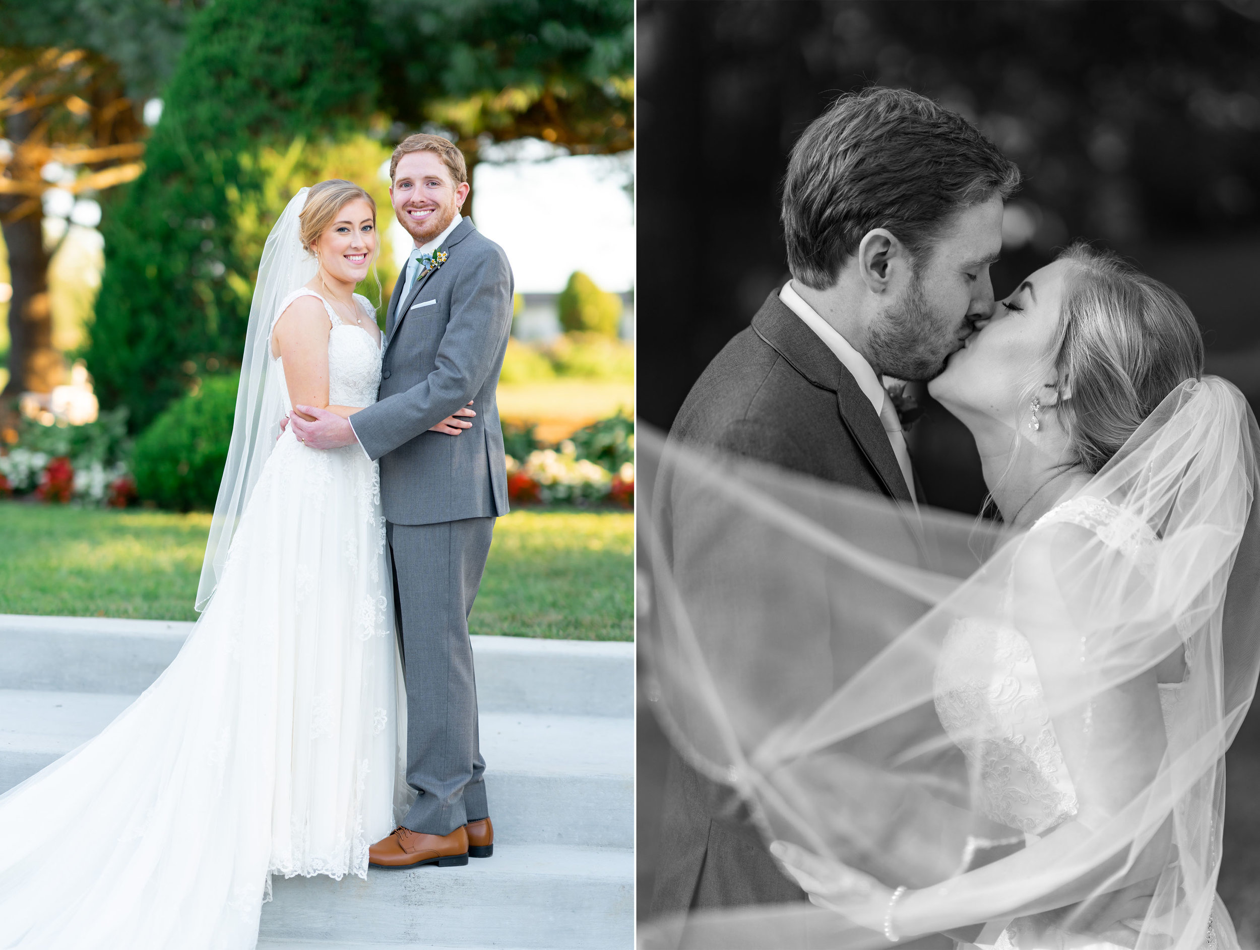 Bride and groom portraits at summer wedding at Stone Manor Country Club