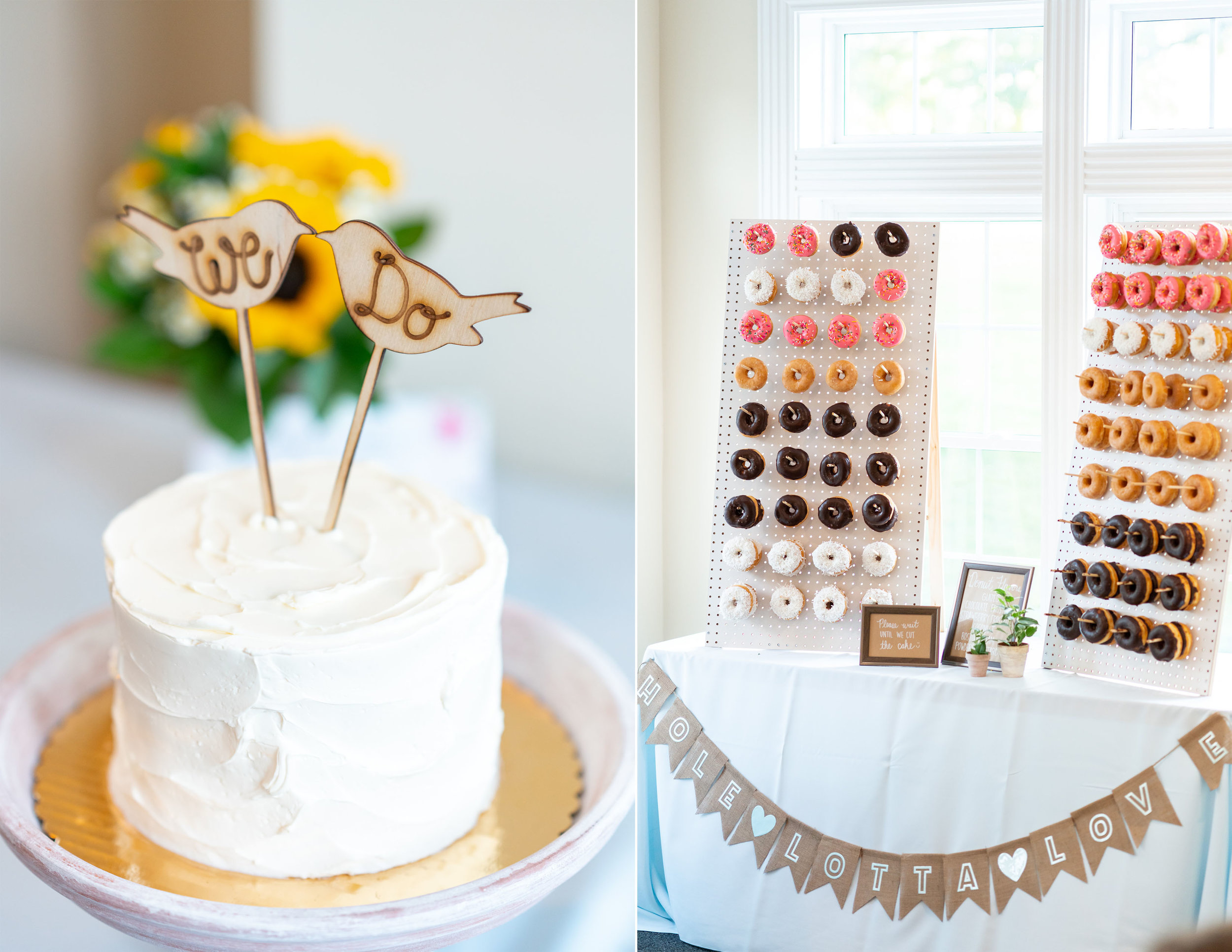 cake and donut wall at frederick venue stone manor country club