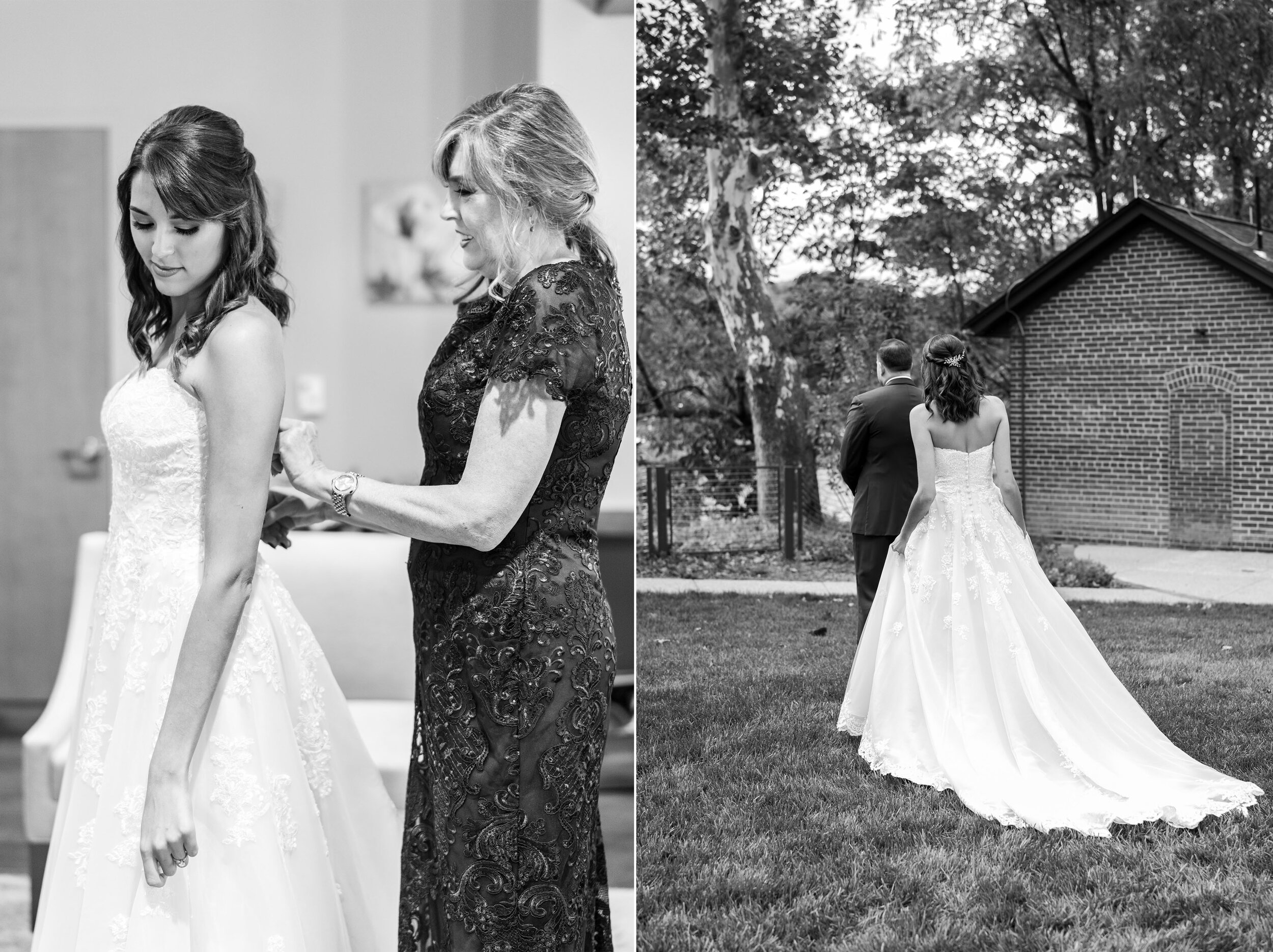 Bride putting on dress and the first look at Riverview at Occoquan
