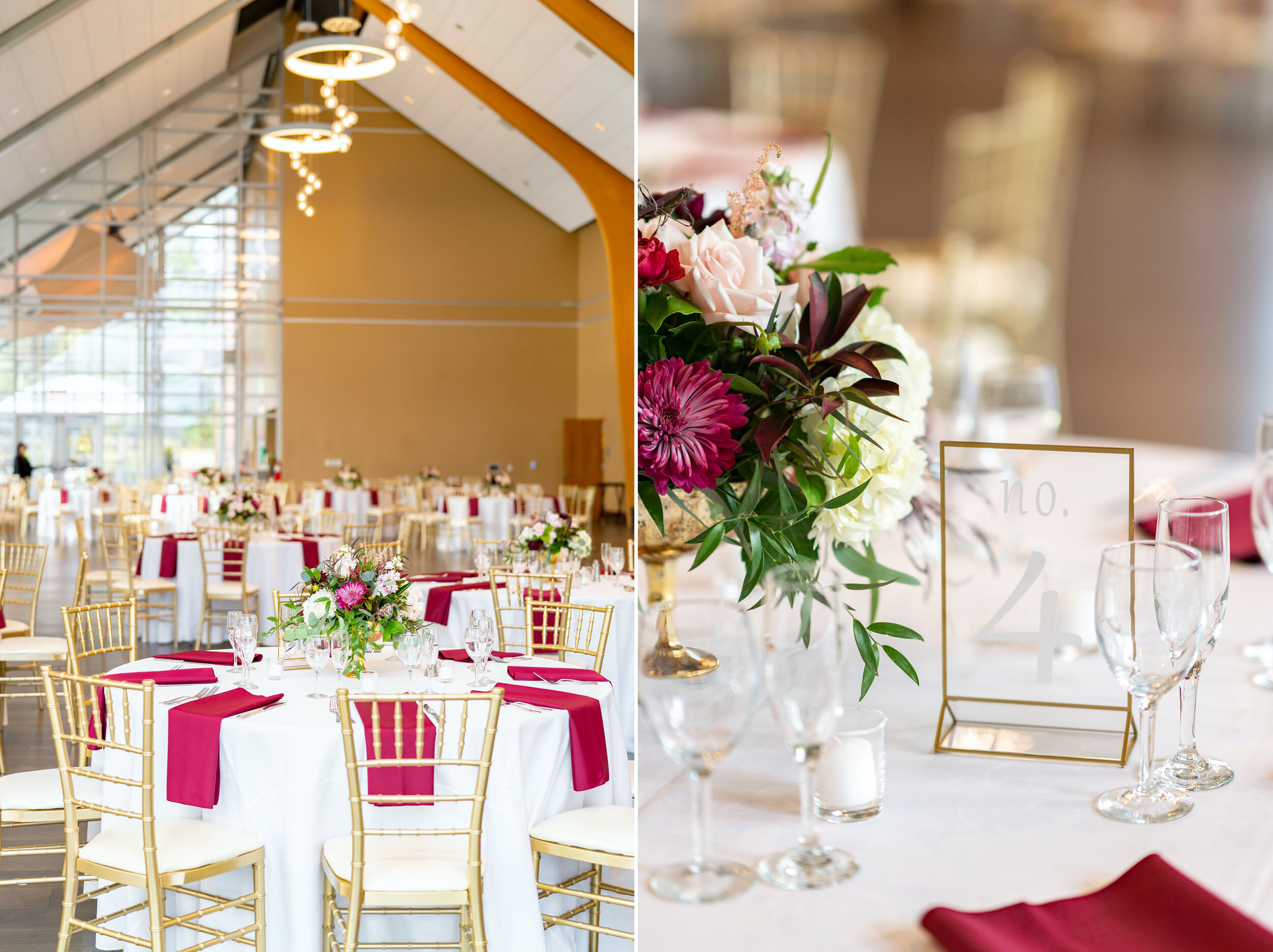 Gold tables and chairs Reception decor and tables at Riverview at Occoquan wedding