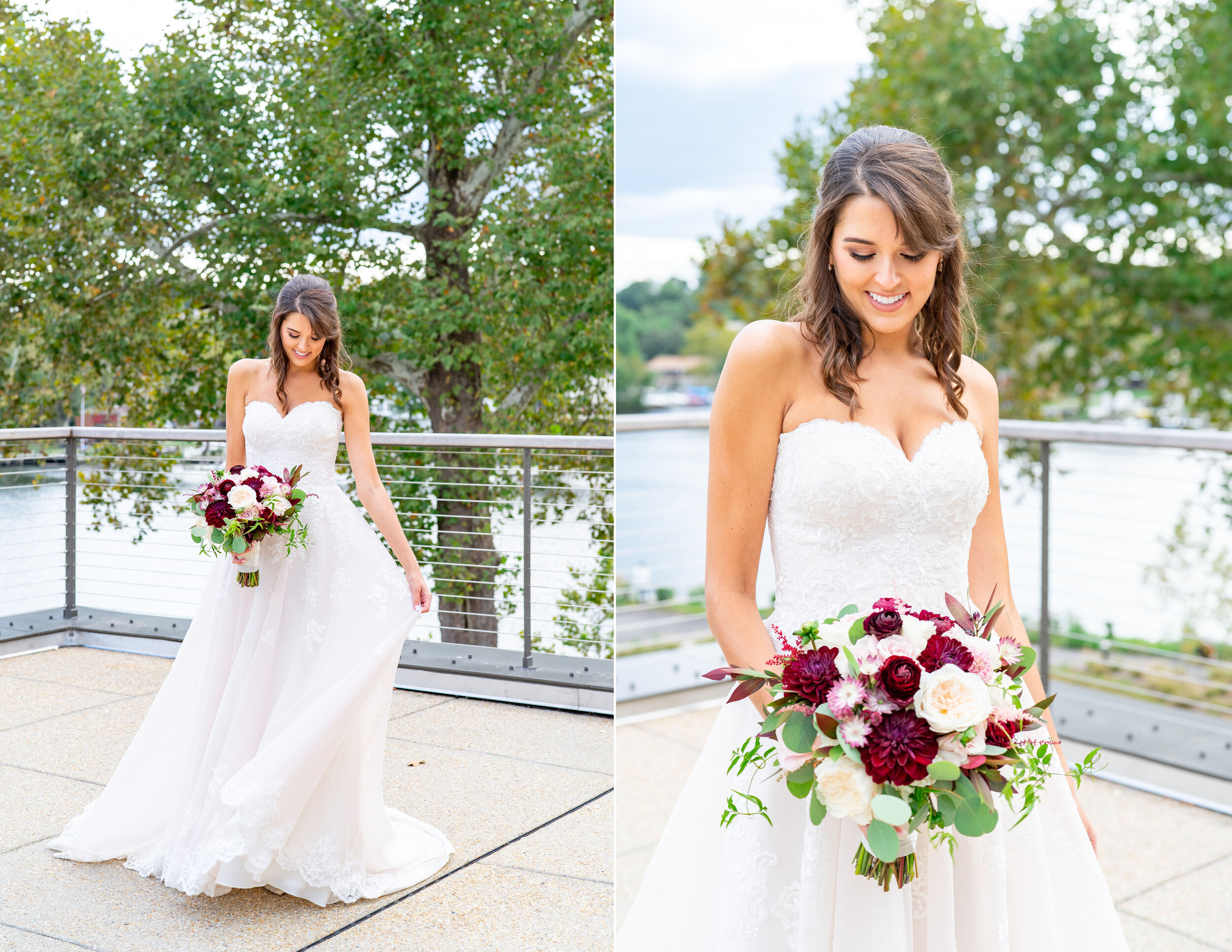 Bride in Stella York 6776 at fall wedding at Riverview at Occoquan