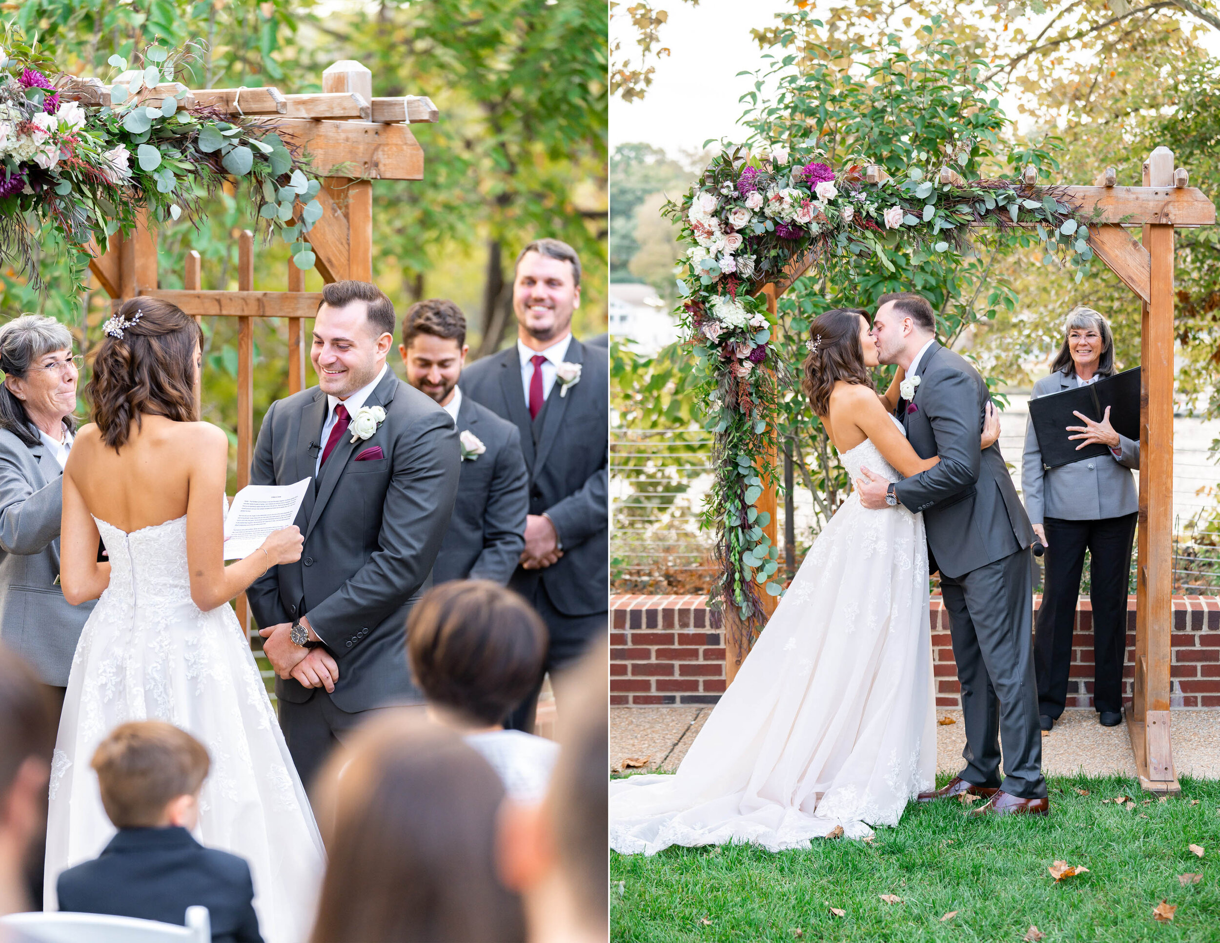 Bride and groom fall wedding ceremony at Riverview at Occoquan