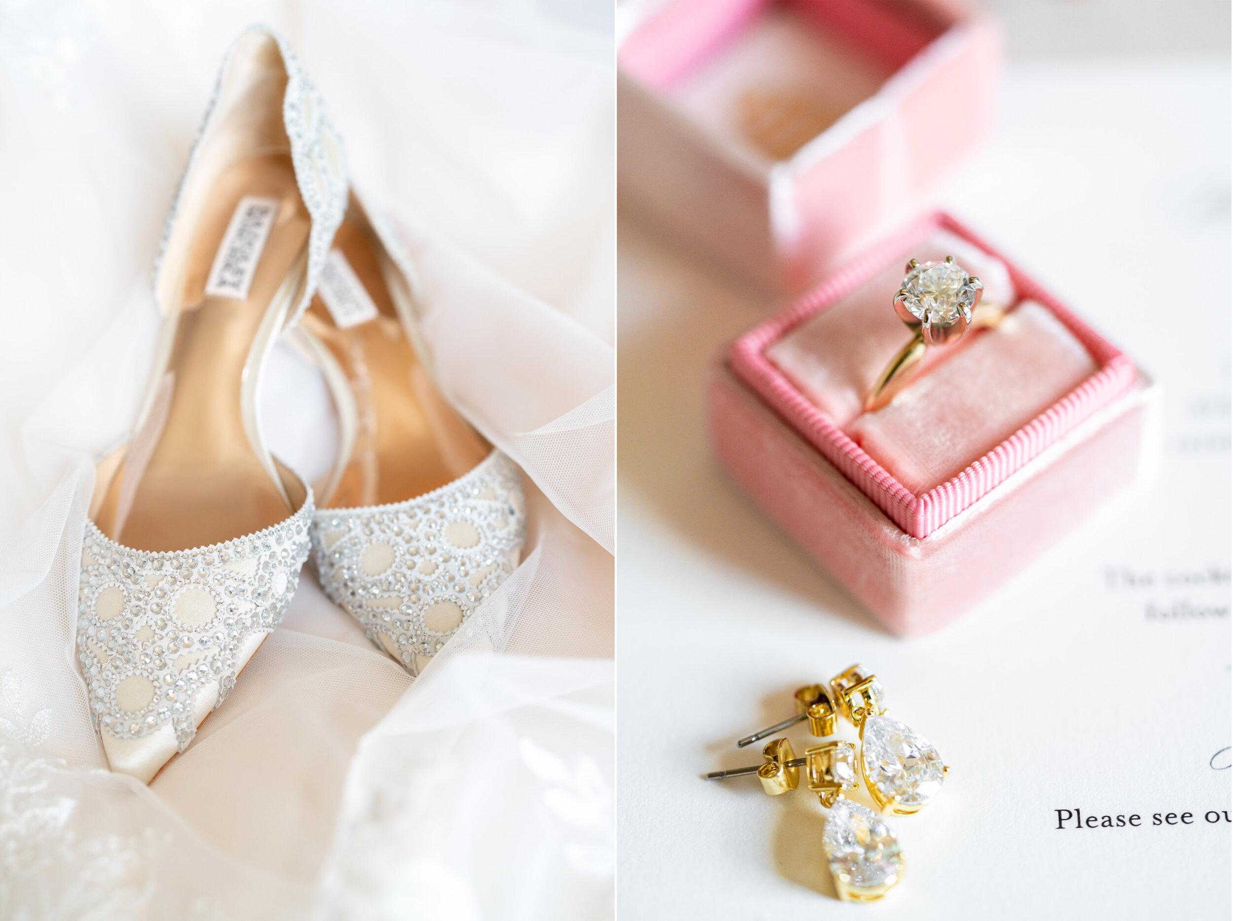 Badgley Mishka gigi flats and pink Gwynevere Mrs box wedding details