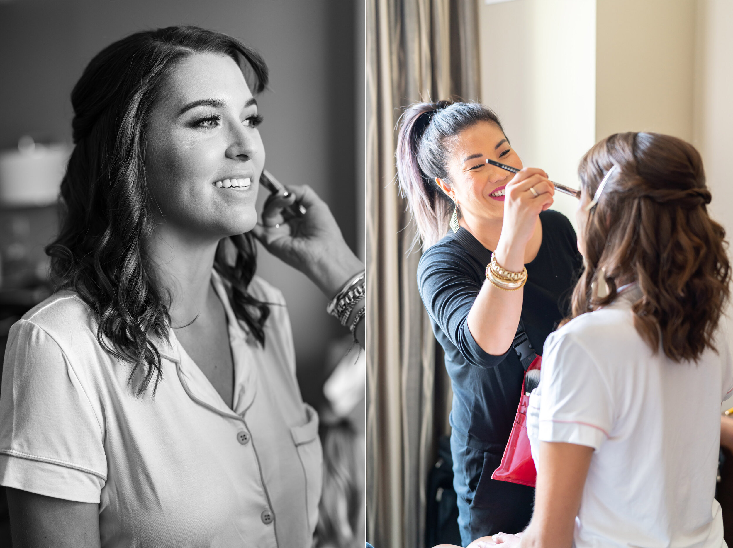 Bride having hair and makeup done at Embassy Suites Springfield wedding by Valerie Hammer