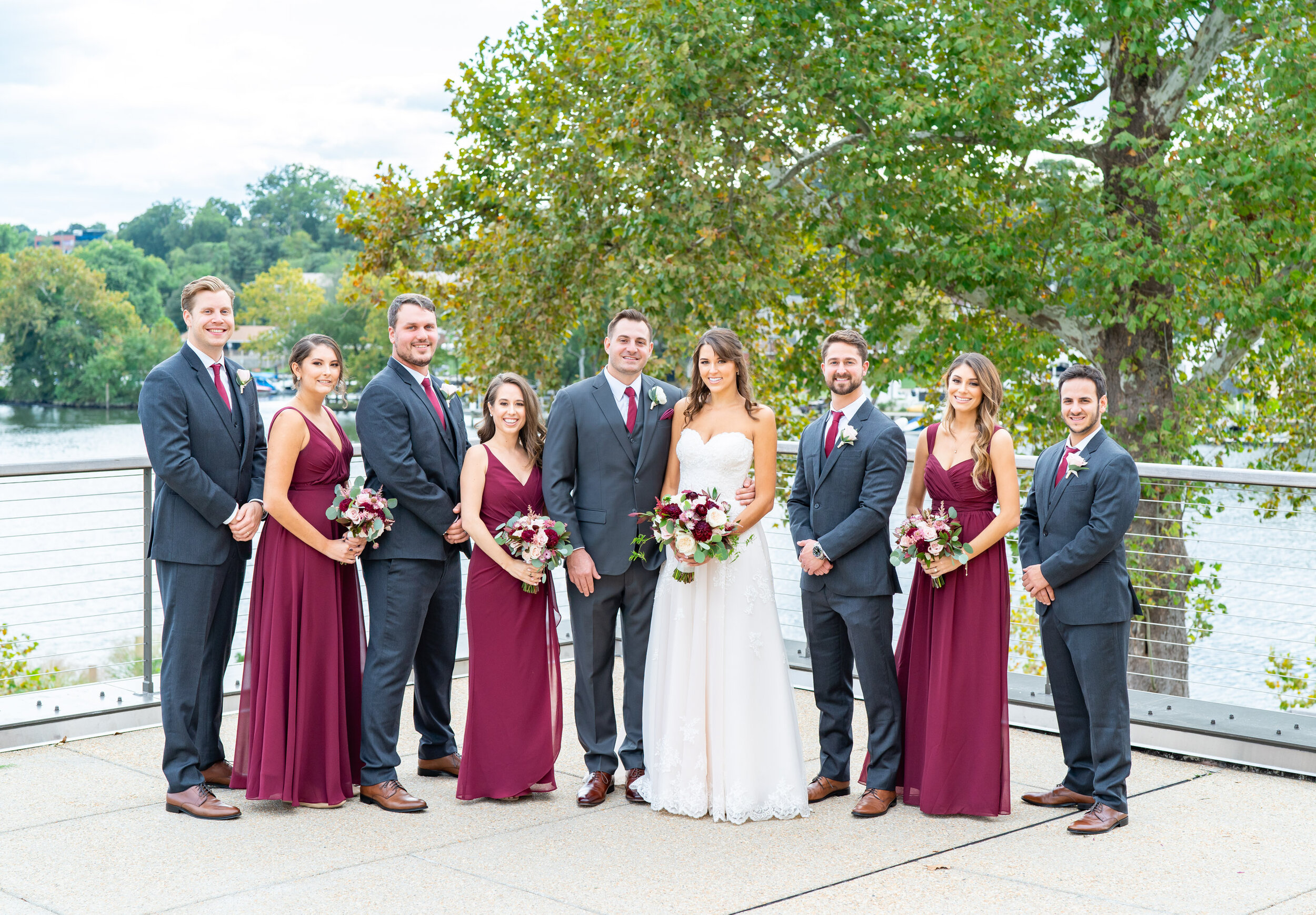 Wedding bridal party on patio at Riverview at Occoquan