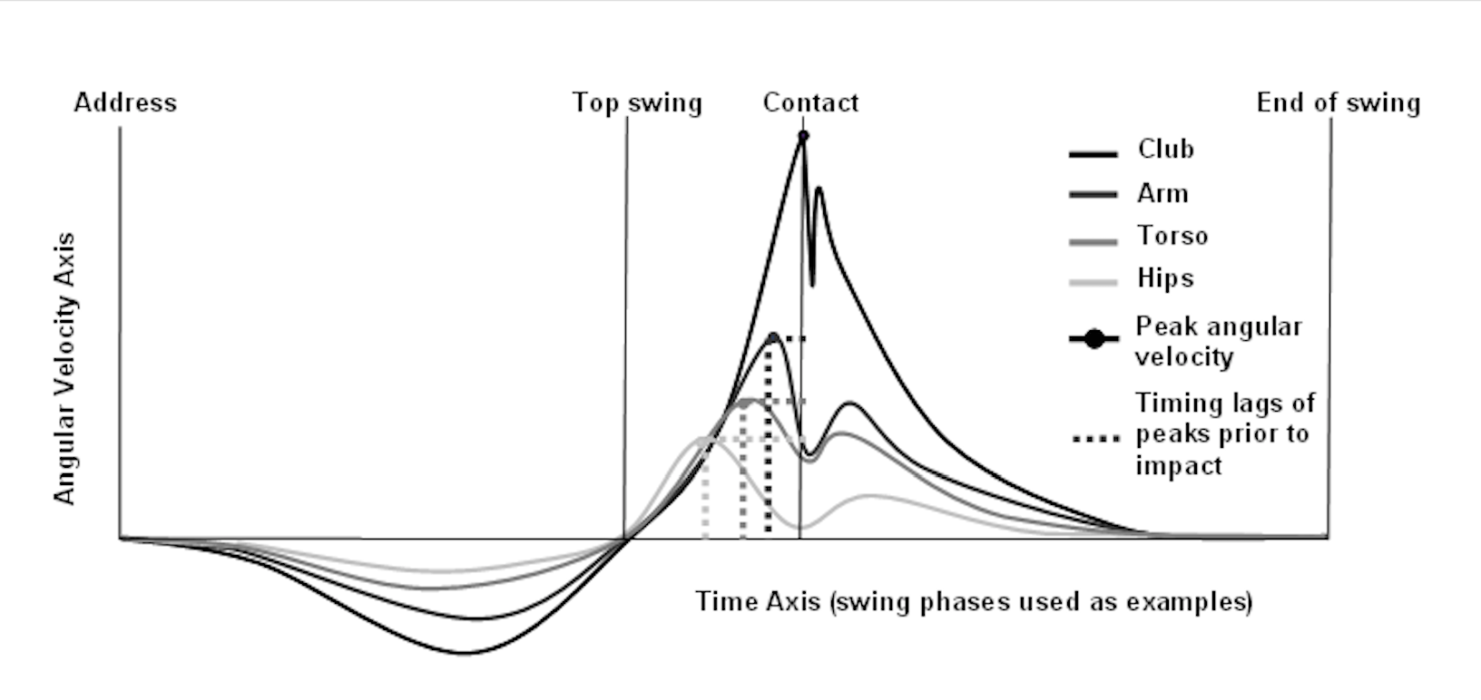 Figure 1  A Model of an Ideal Kinematic Sequence for a Golf Swing, Highlighting 4 Body Segments: Hips, Shoulders (Trunk), Wrists and Clubhead (Langdown et al., 2012).
