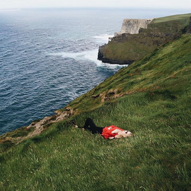 took a little nap on the Cliffs of Moher this afternoon.  I just can't get over how beautiful Ireland is. #travelingwiththewestbys