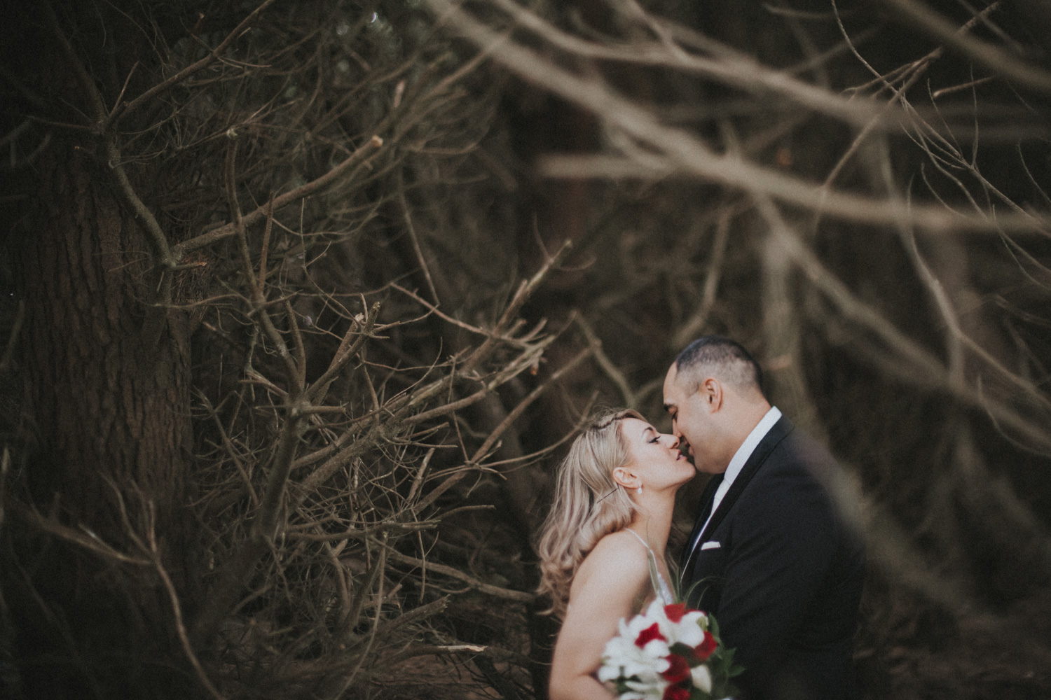 Bride and Groom enjoying a quiet moment together during wedding photos
