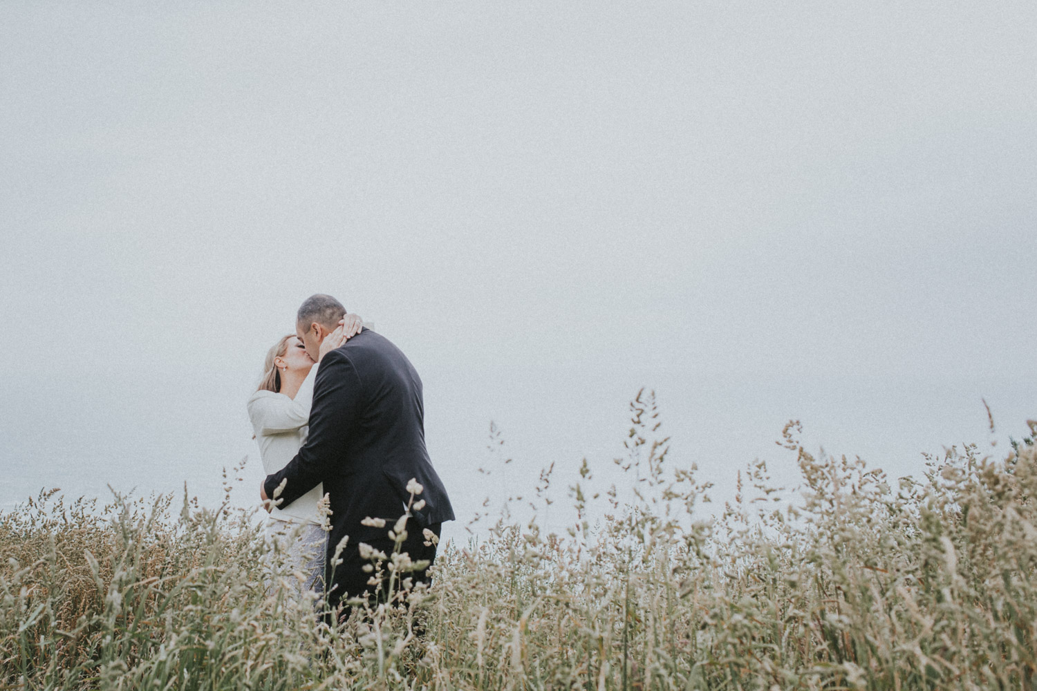 Bride and Groom kiss in the long grass at Boomrock,Wellington wedding venue