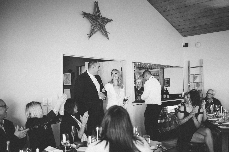 Bride and Groom's entrance into wedding reception at Boomrock Lodge