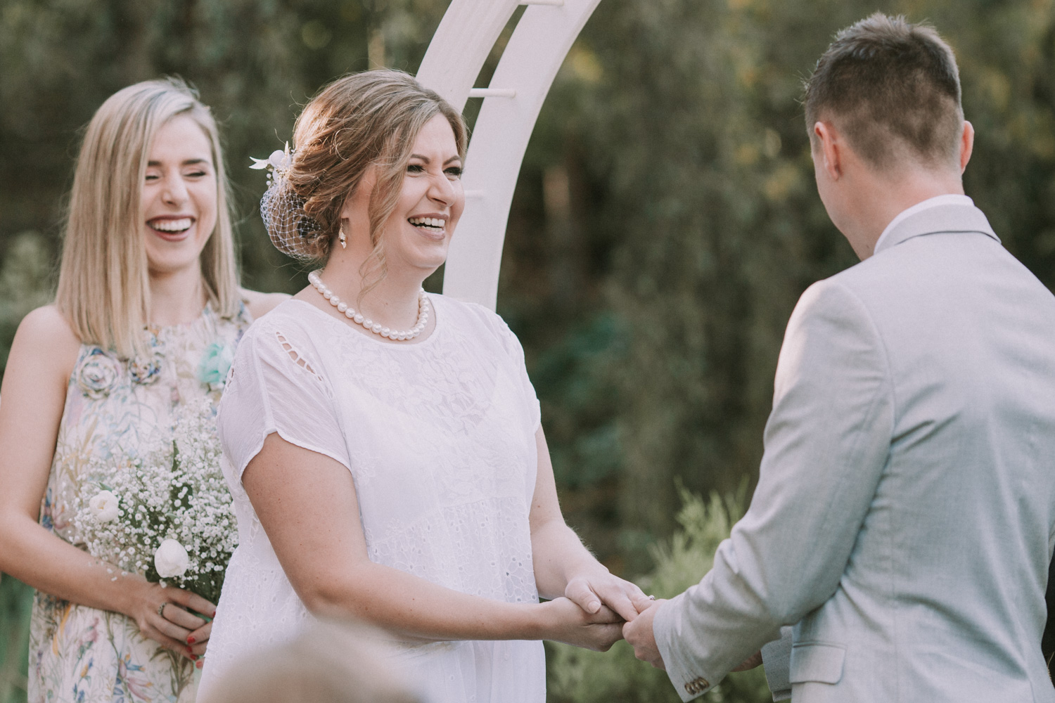 Bride laughing and smiling