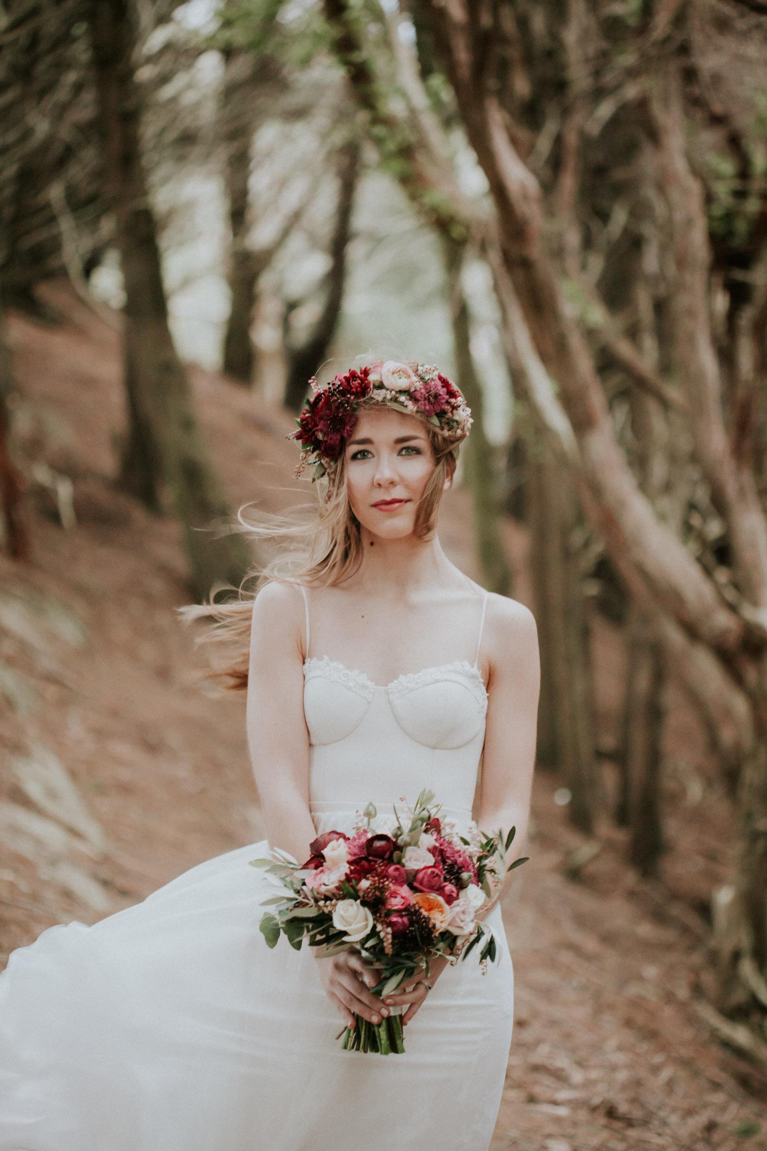 Bride holding a Melissa Jane Flower Studio bouquet.