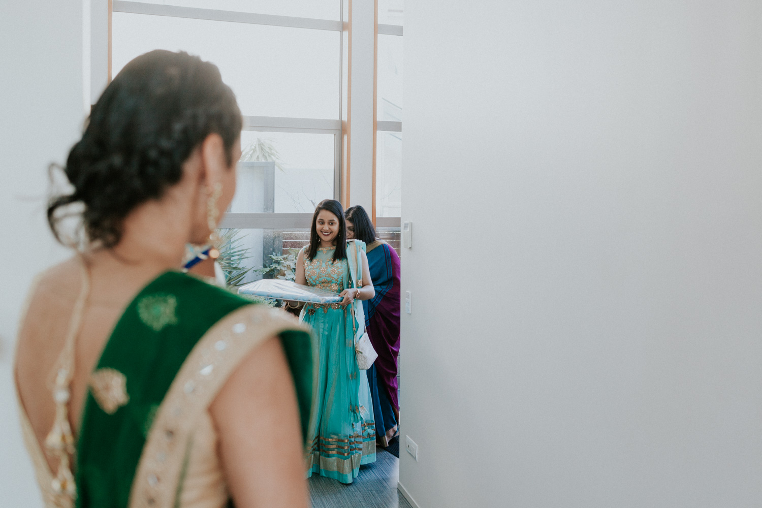 Guests arriving to Indian engagement ceremony