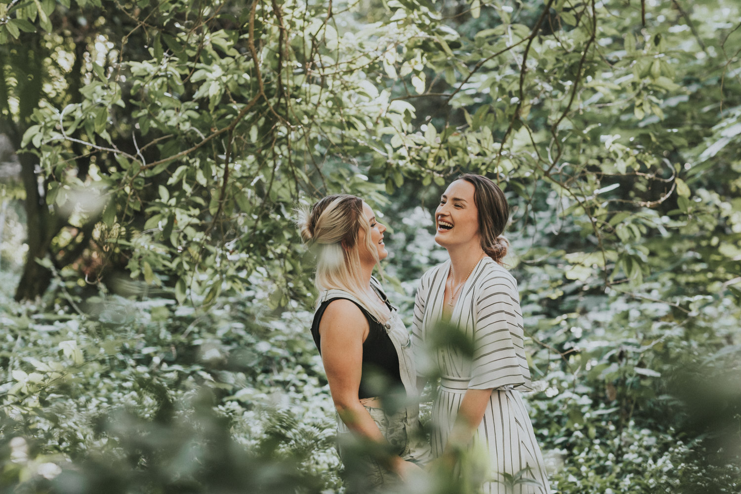 couple laughing during photo shoot