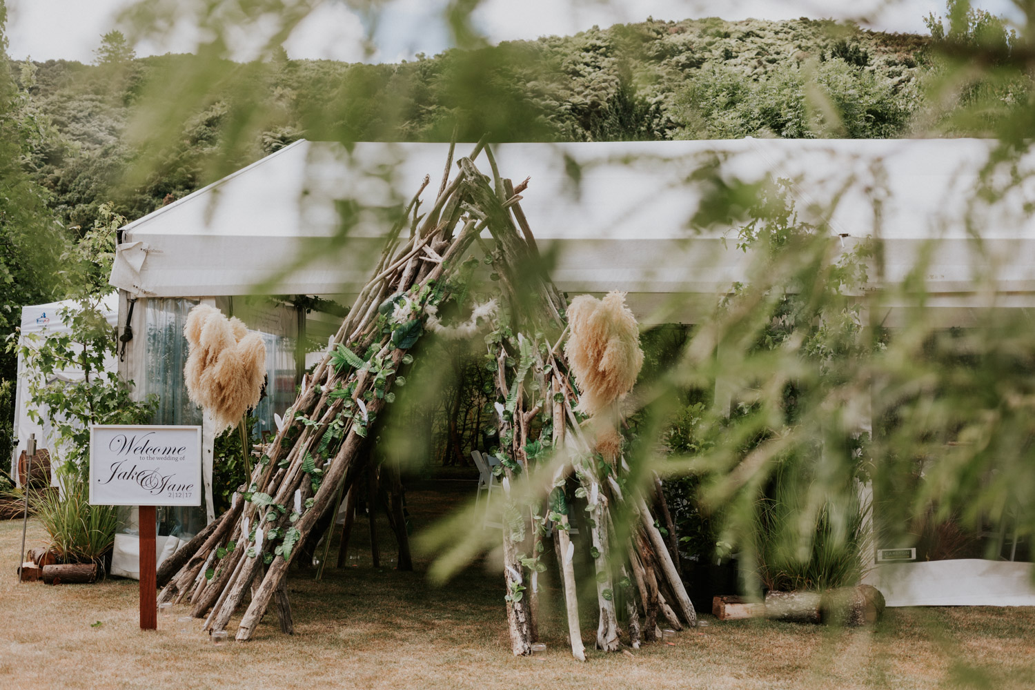 Wedding reception teepee entrance