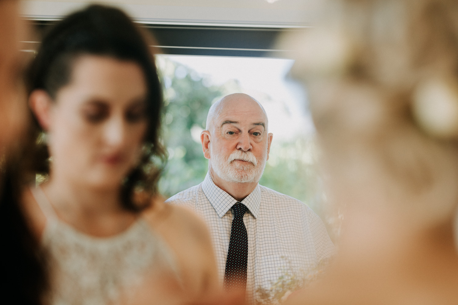 First look, father seeing bride on wedding day