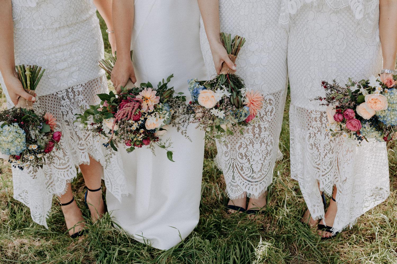 Colourful bridal bouquets by Twig & Arrow