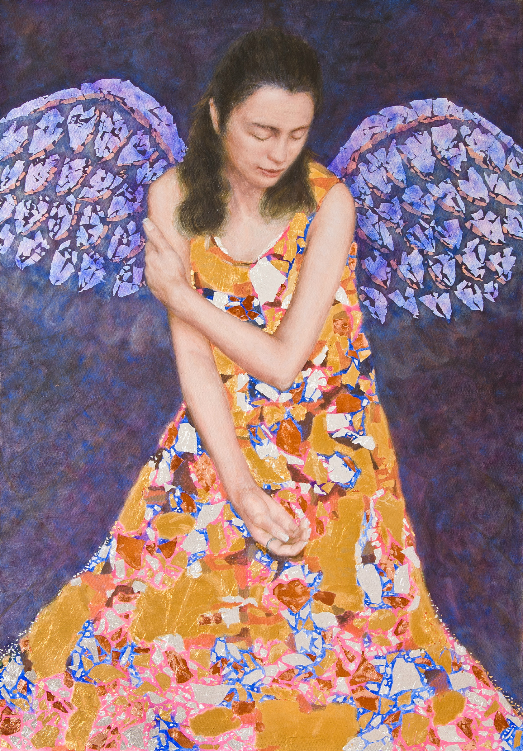 'Angel'   oil on linen, gold leaf, silver leaf, cooper leaf  year: 2009  size: 1000 x 700mm